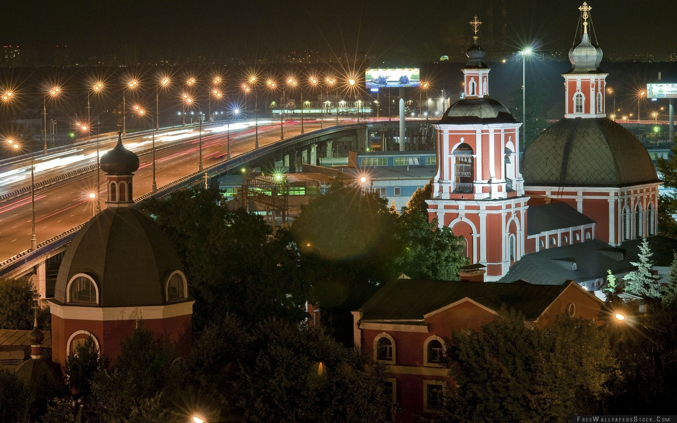 Download Free Wallpaper Night Church Road Lights Moscow