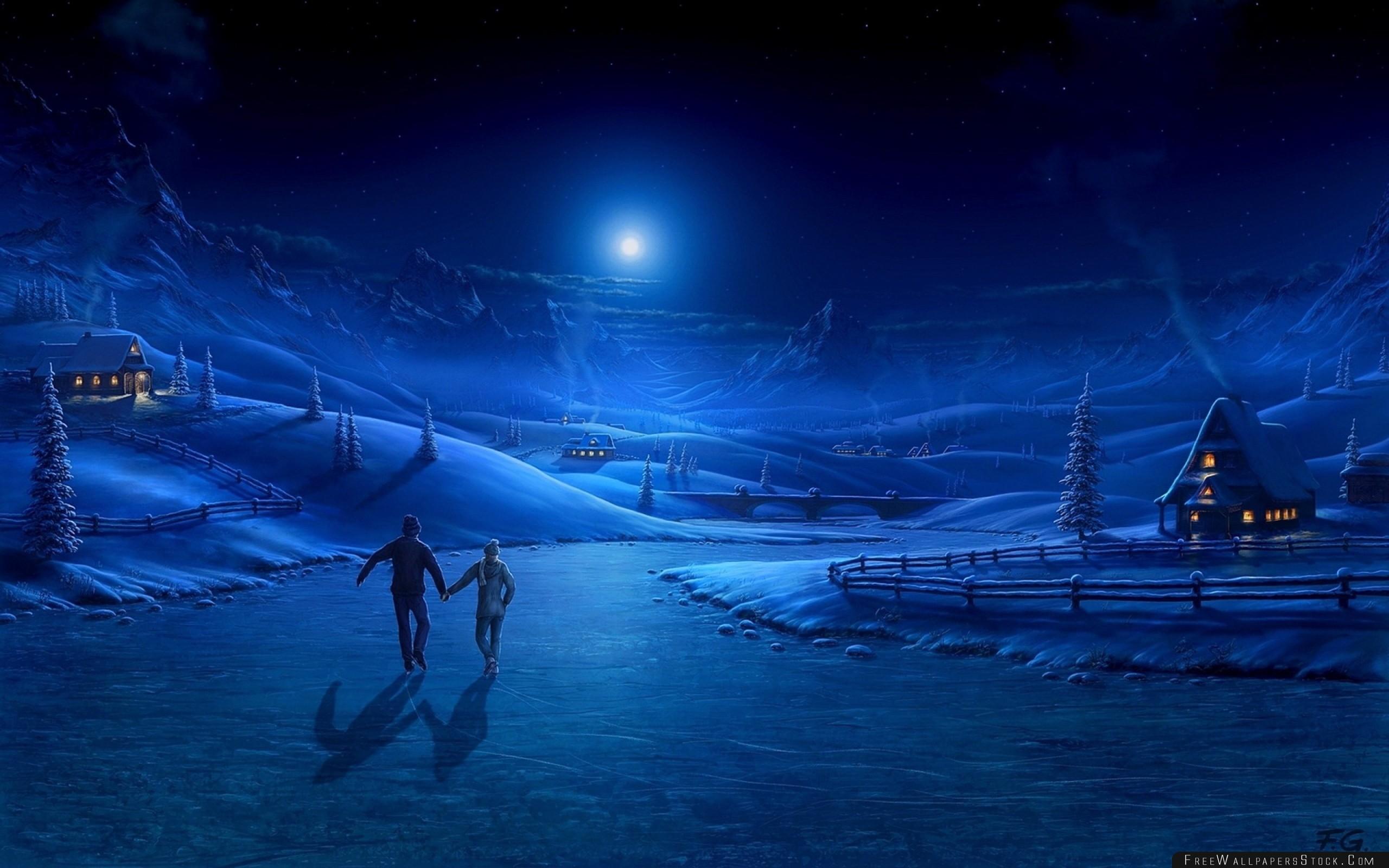 Download Free Wallpaper Night Ice Pair Light Moon Skating Rink Art Lodge Smoke