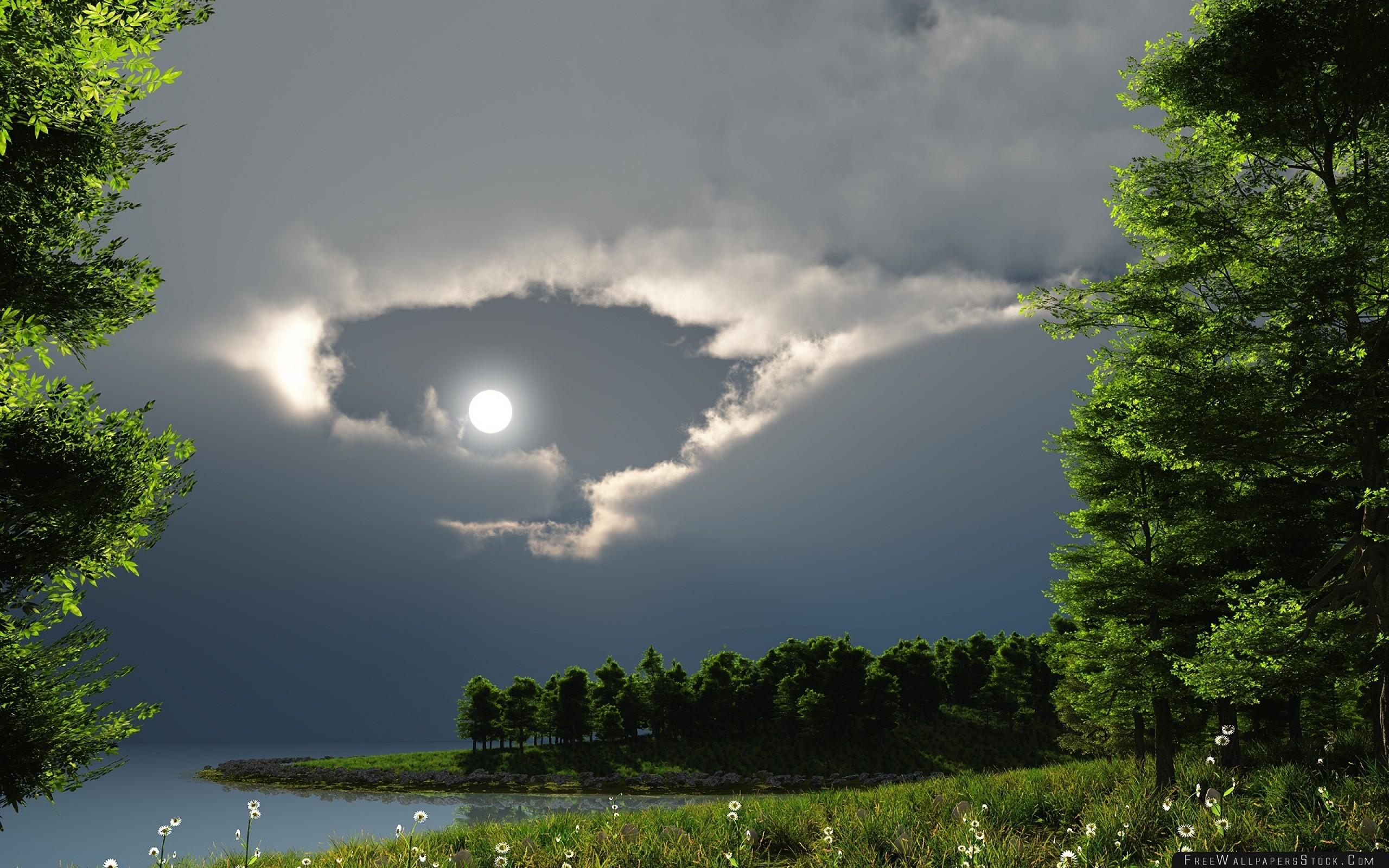 Download Free Wallpaper Night Moon Lake Trees Nature