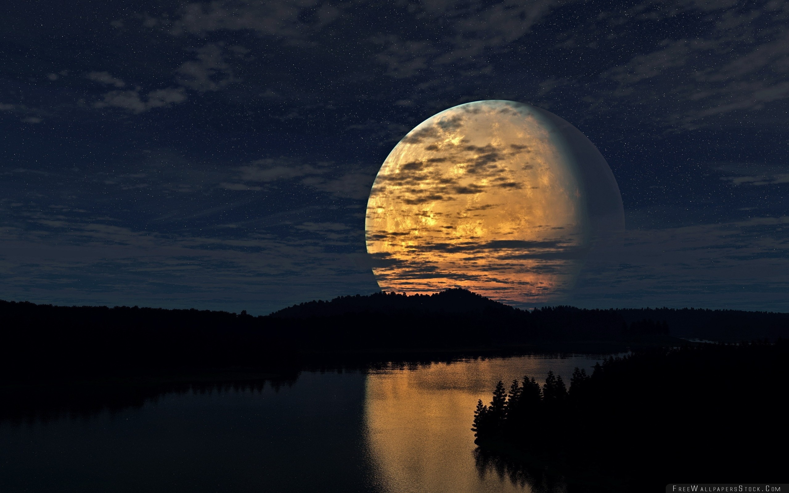 Download Free Wallpaper Night Sky Moon Trees River Reflection
