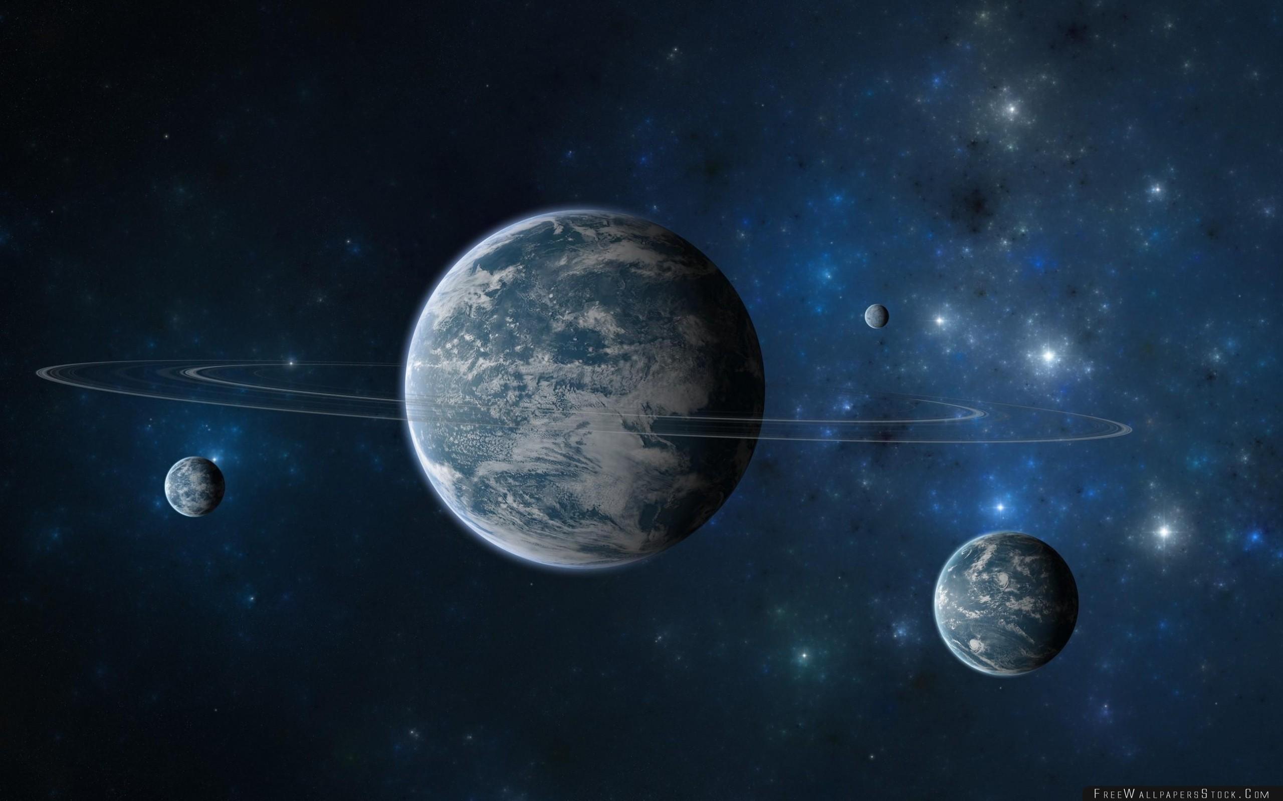 Download Free Wallpaper Planet Ring Moon Stars Galaxies