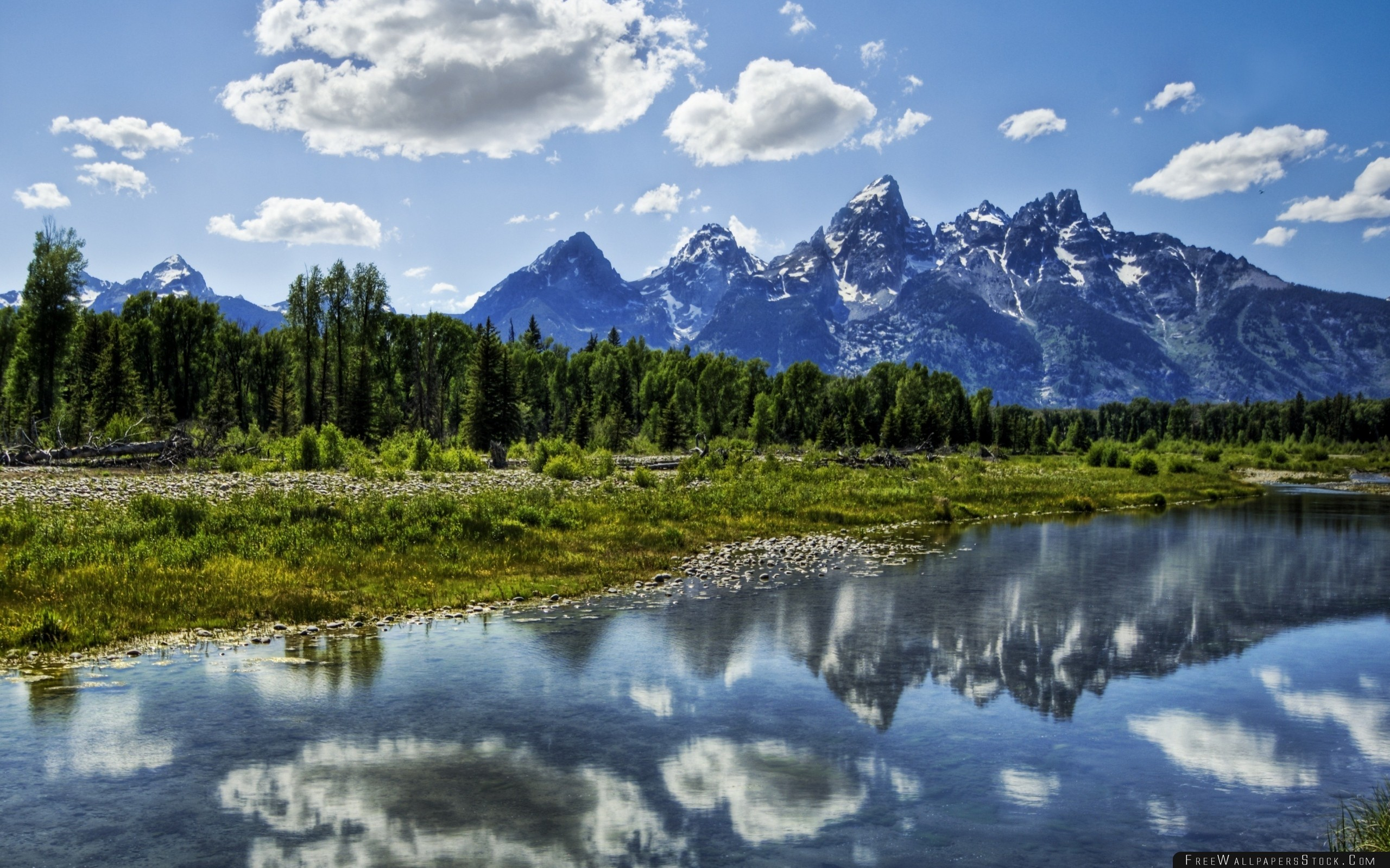 Download Free Wallpaper River Clouds Reflection Mountains Wood Harmony Brightly