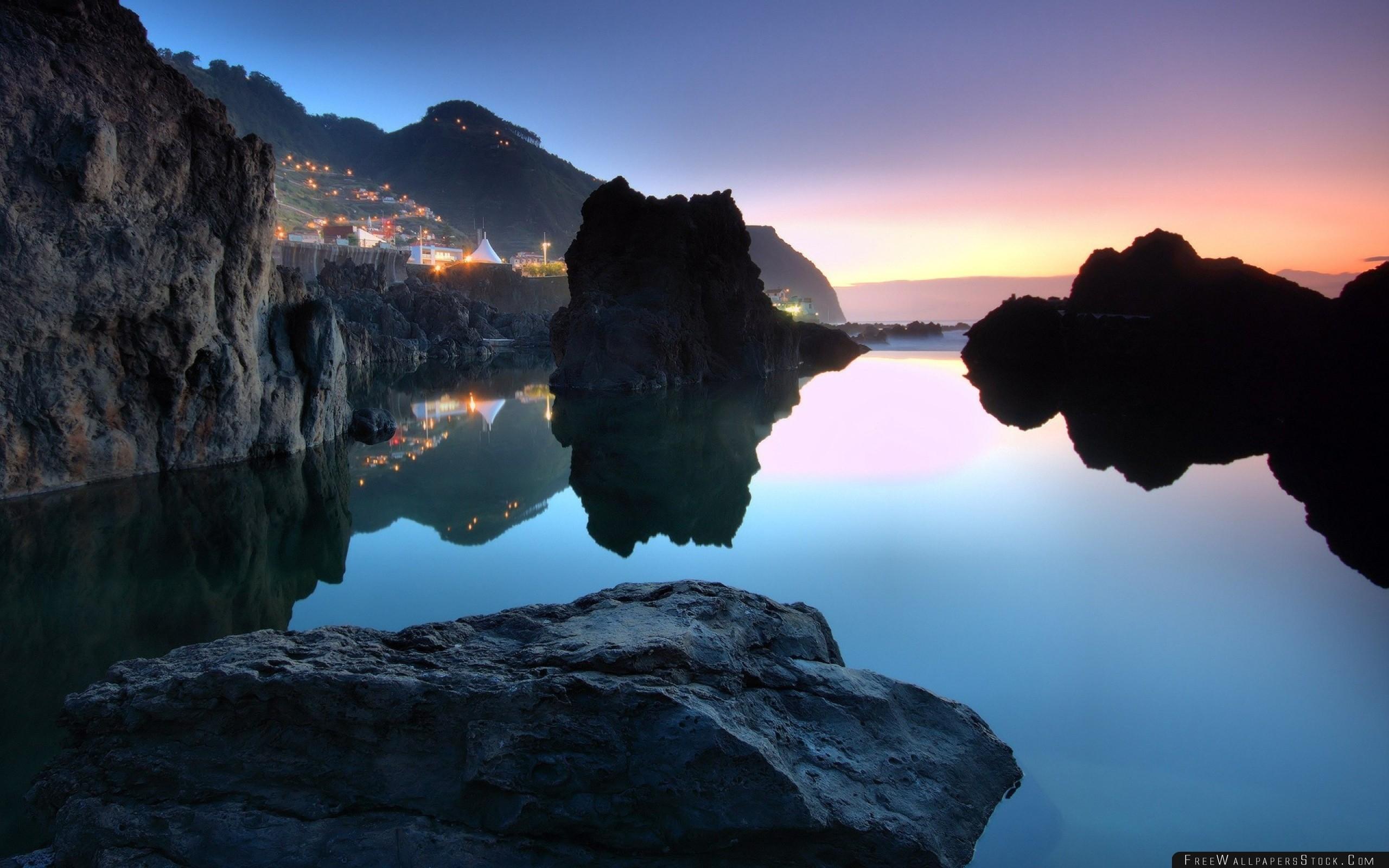 Download Free Wallpaper Stones Coast Rocks Fires Water Evening