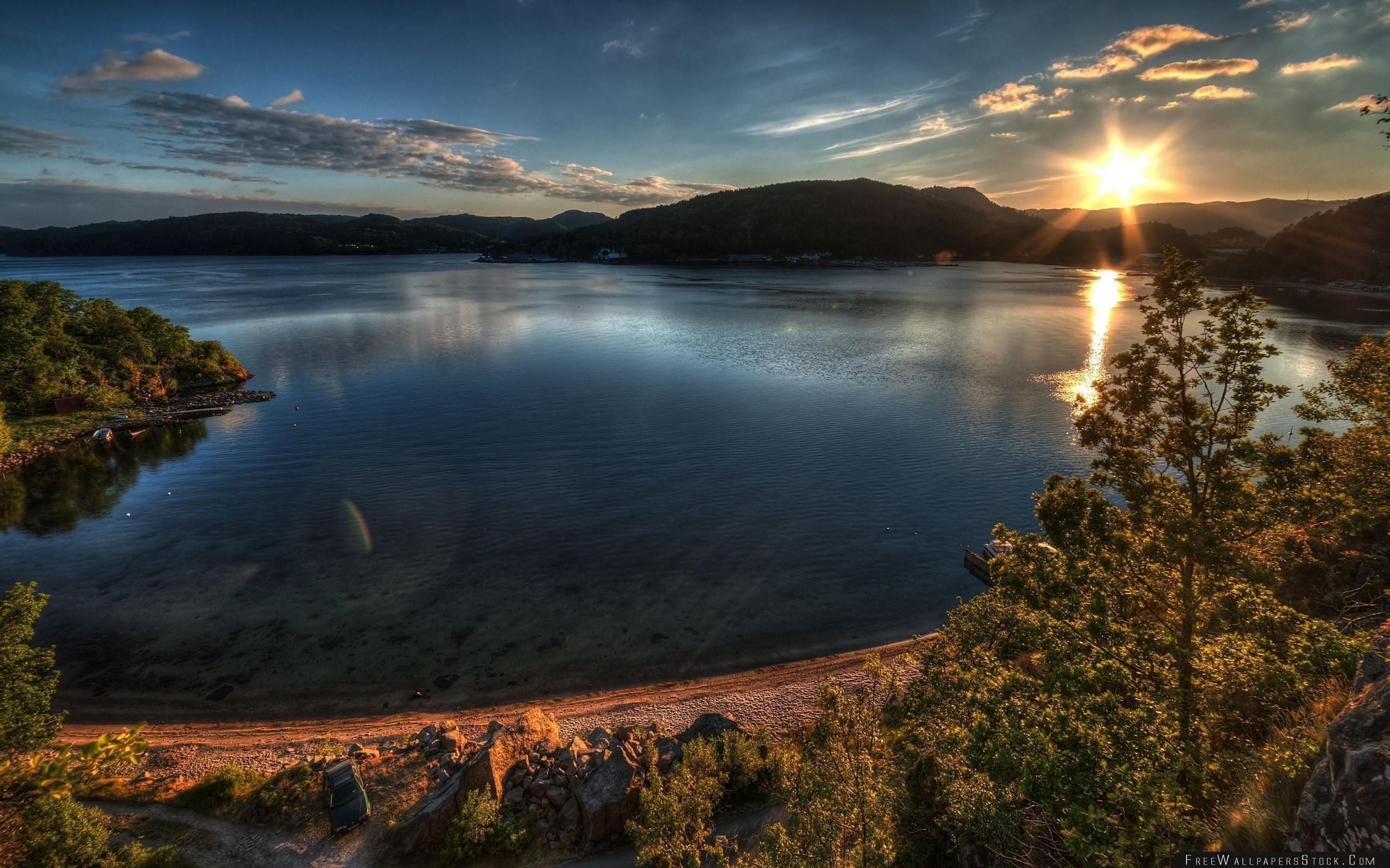 Download Free Wallpaper Sun Lake Coast Evening Decline Trees Harmony