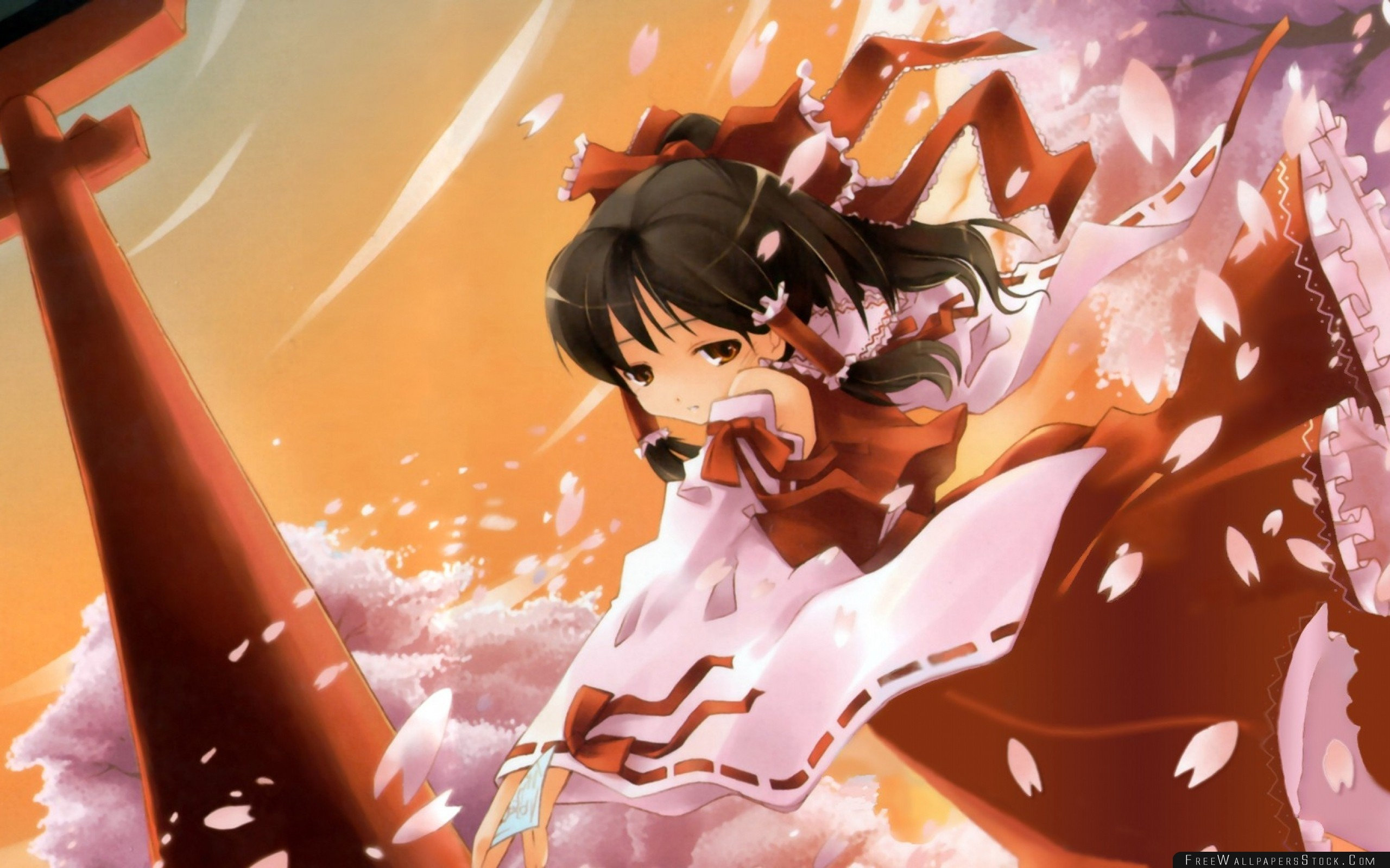 Download Free Wallpaper Touhou Girl Brunette Dress Petals Sadness