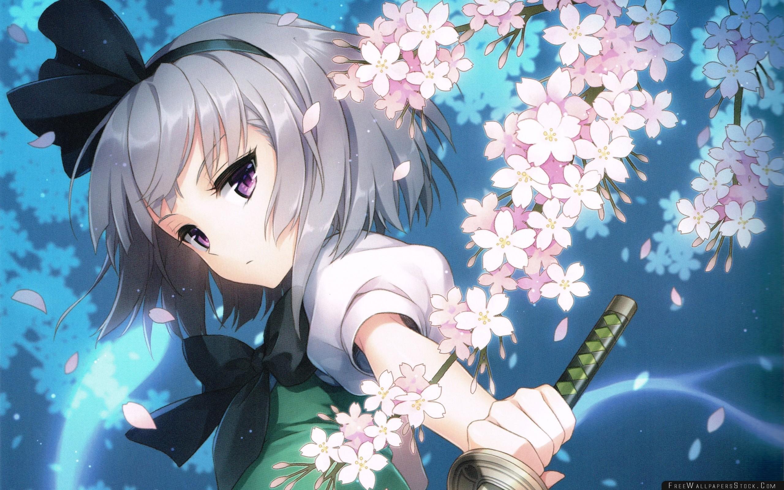 Download Free Wallpaper Touhou Konpaku Youmu Girl Cherry Katana
