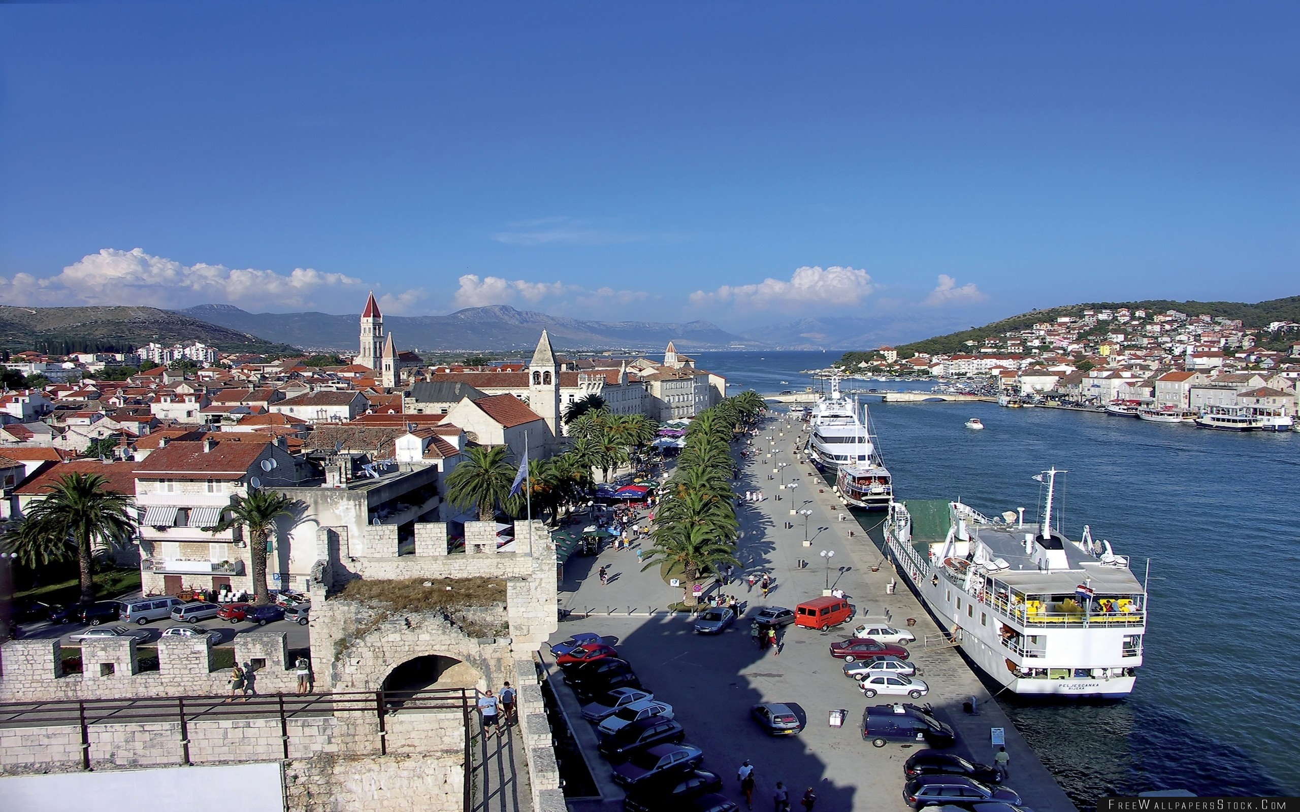 Download Free Wallpaper Trogir Croatia Dock Boat Sea Sky Nature People