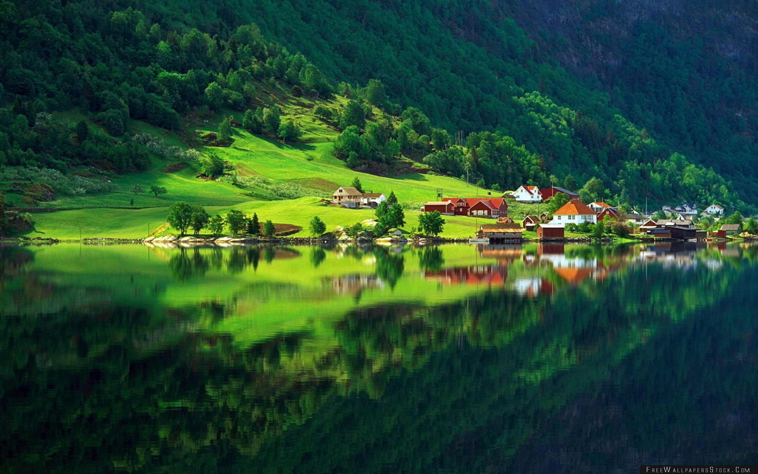 Download Free Wallpaper Village Mountain Bottom Lake Home Summer Reflection Protected