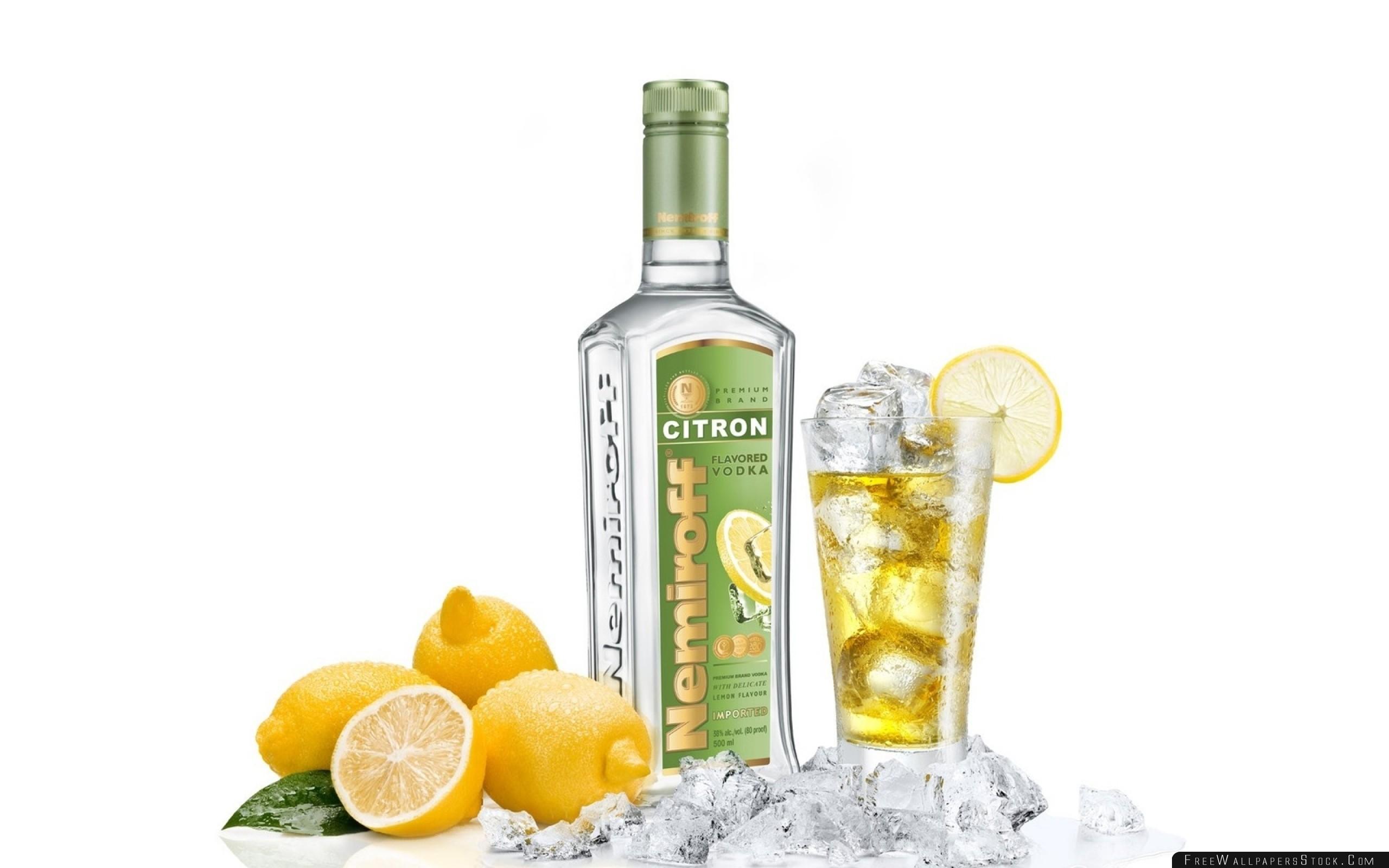 Download Free Wallpaper Vodka Bottle Lemon Alcohol Glass Ice