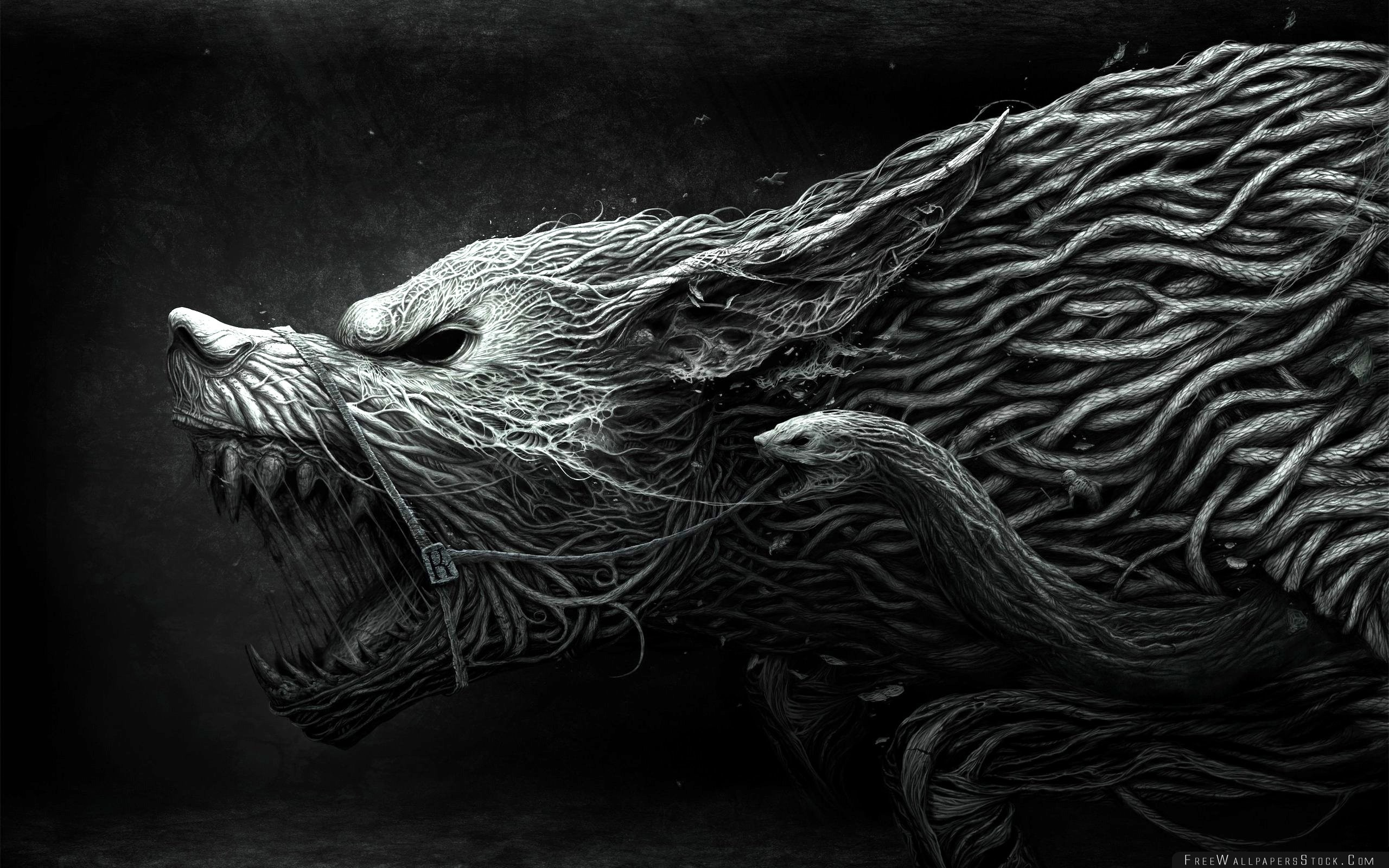 Download Free Wallpaper Wolf Teeth Drawing Aggression Black White