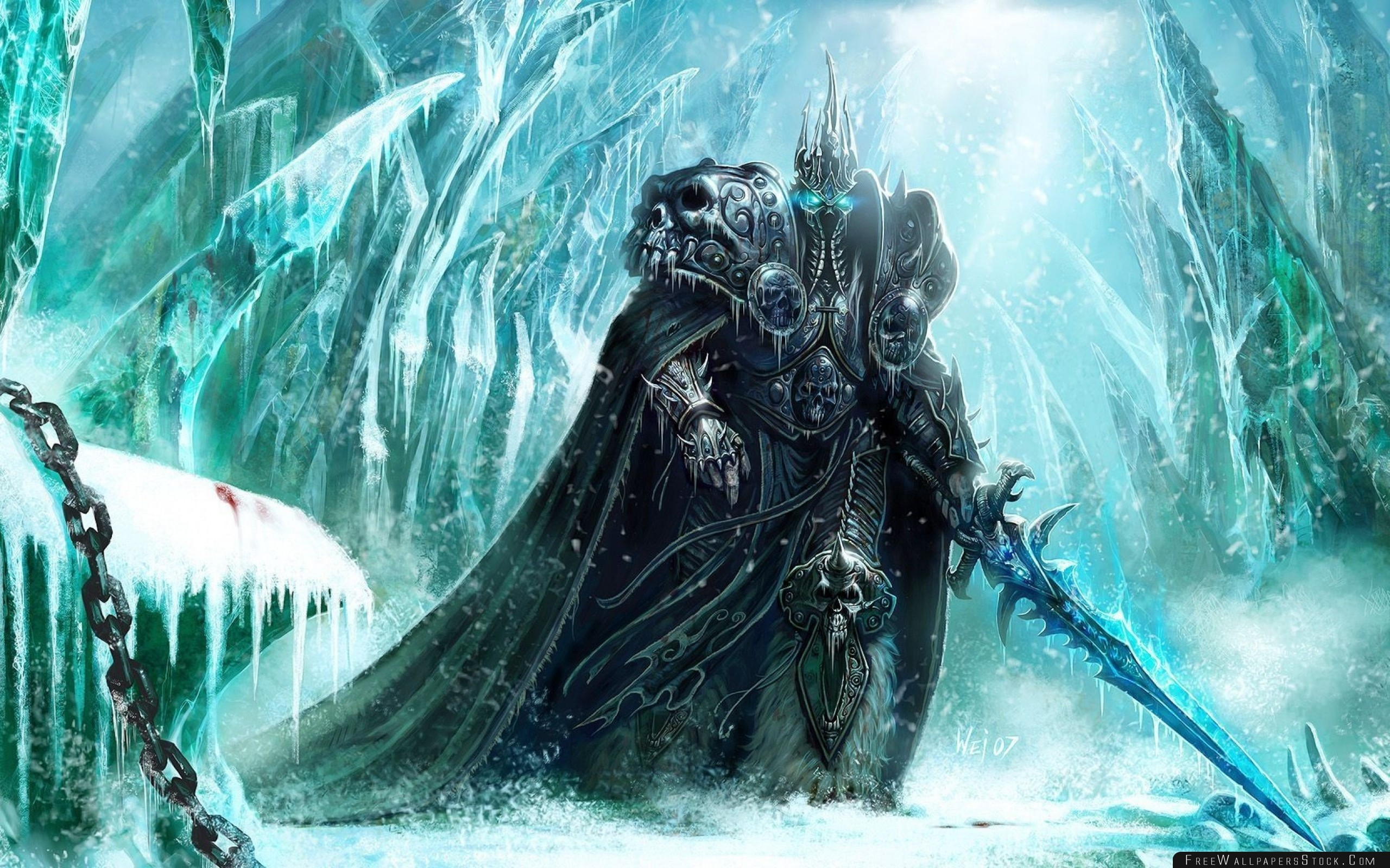 Download Free Wallpaper World   Warcraft Lich King Sword Cold Snow Chain