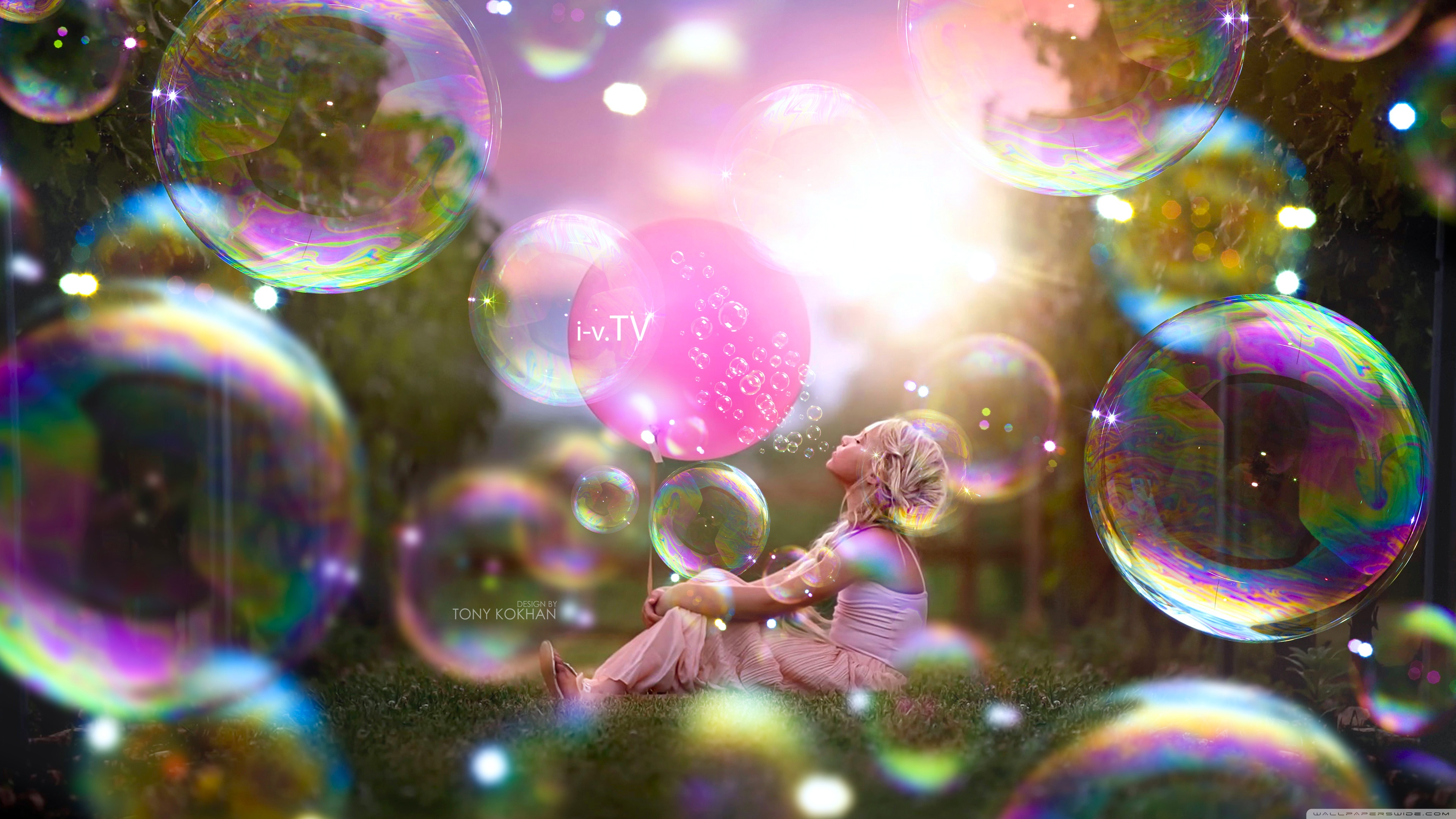 Download Free WallpaperKid Girl Bubbles World Style Design   Tony Kokhan