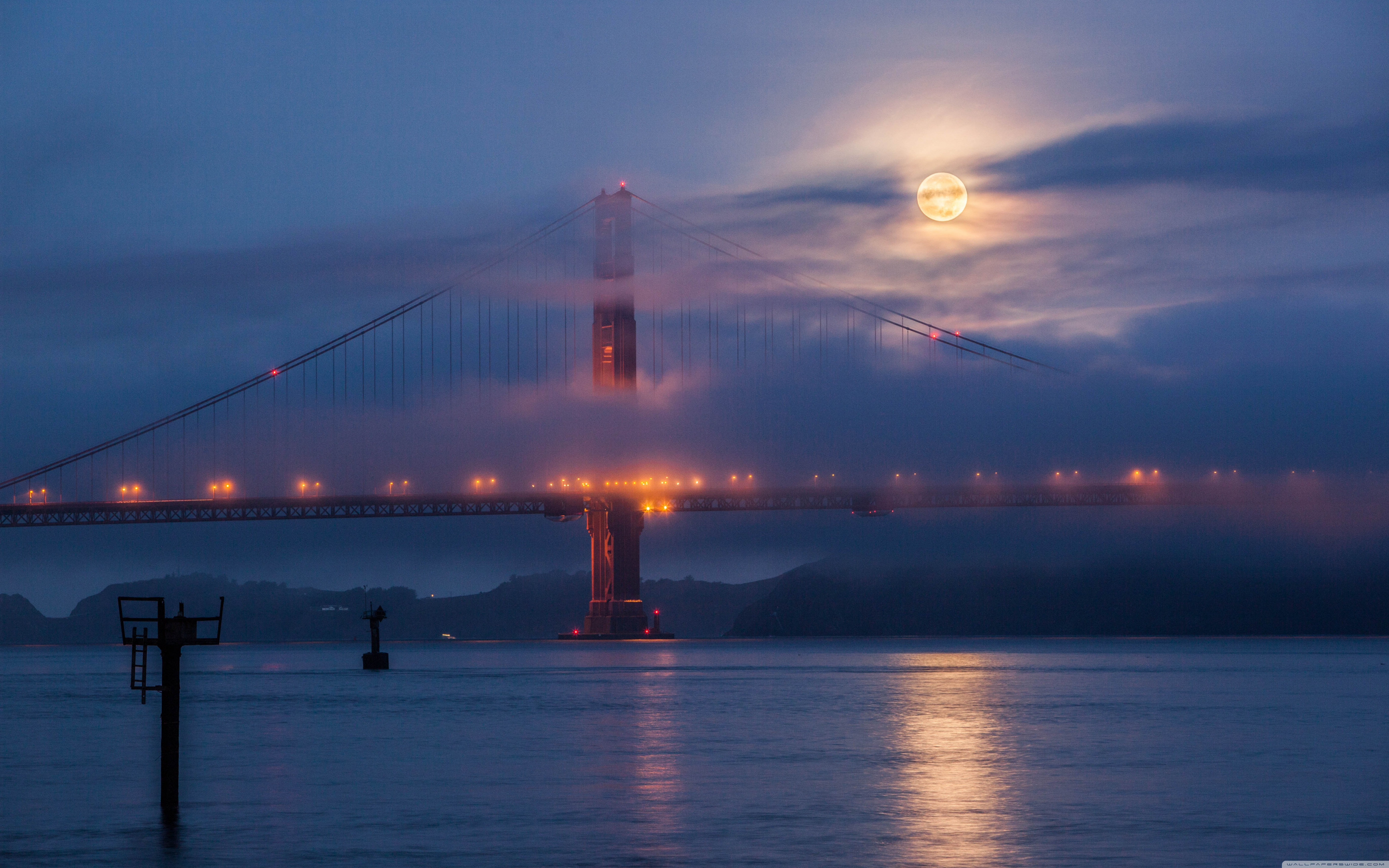 Download Free WallpaperMoon Rising Over San Francisco And Golden Gate Bridge