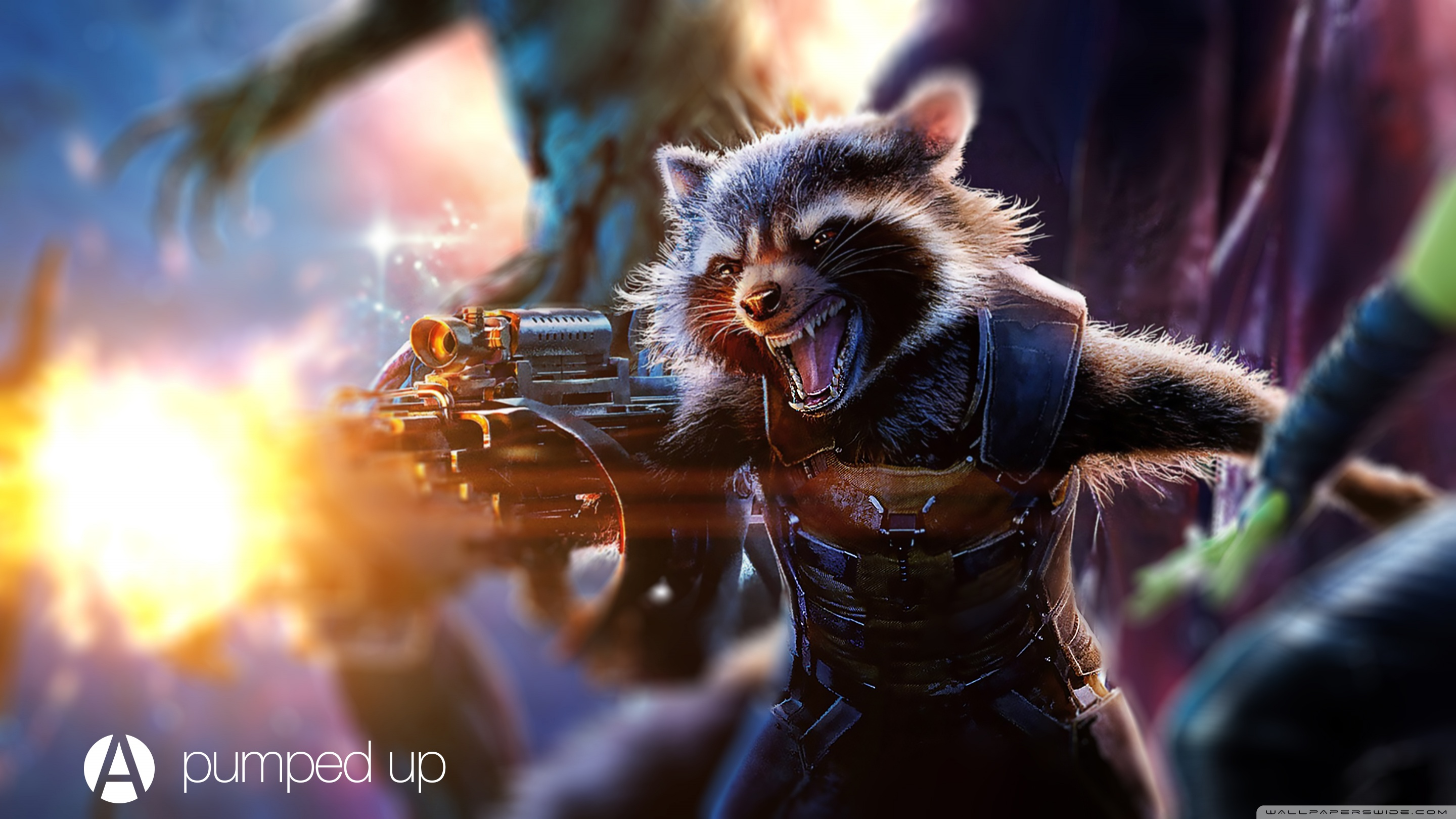Download Free WallpaperRocket Raccoon Pumped   Awesome Design Studio