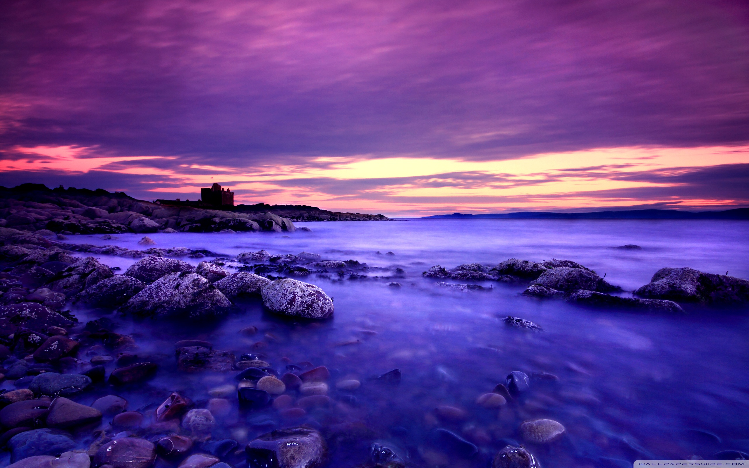 Download Free WallpaperViolet Clouds And Blue Water