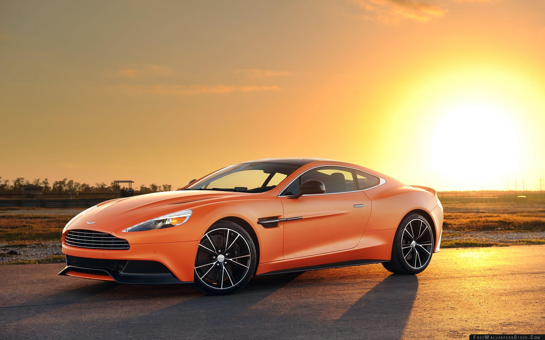 Download Free Wallpaper Orange Aston Martin Vanquish Car