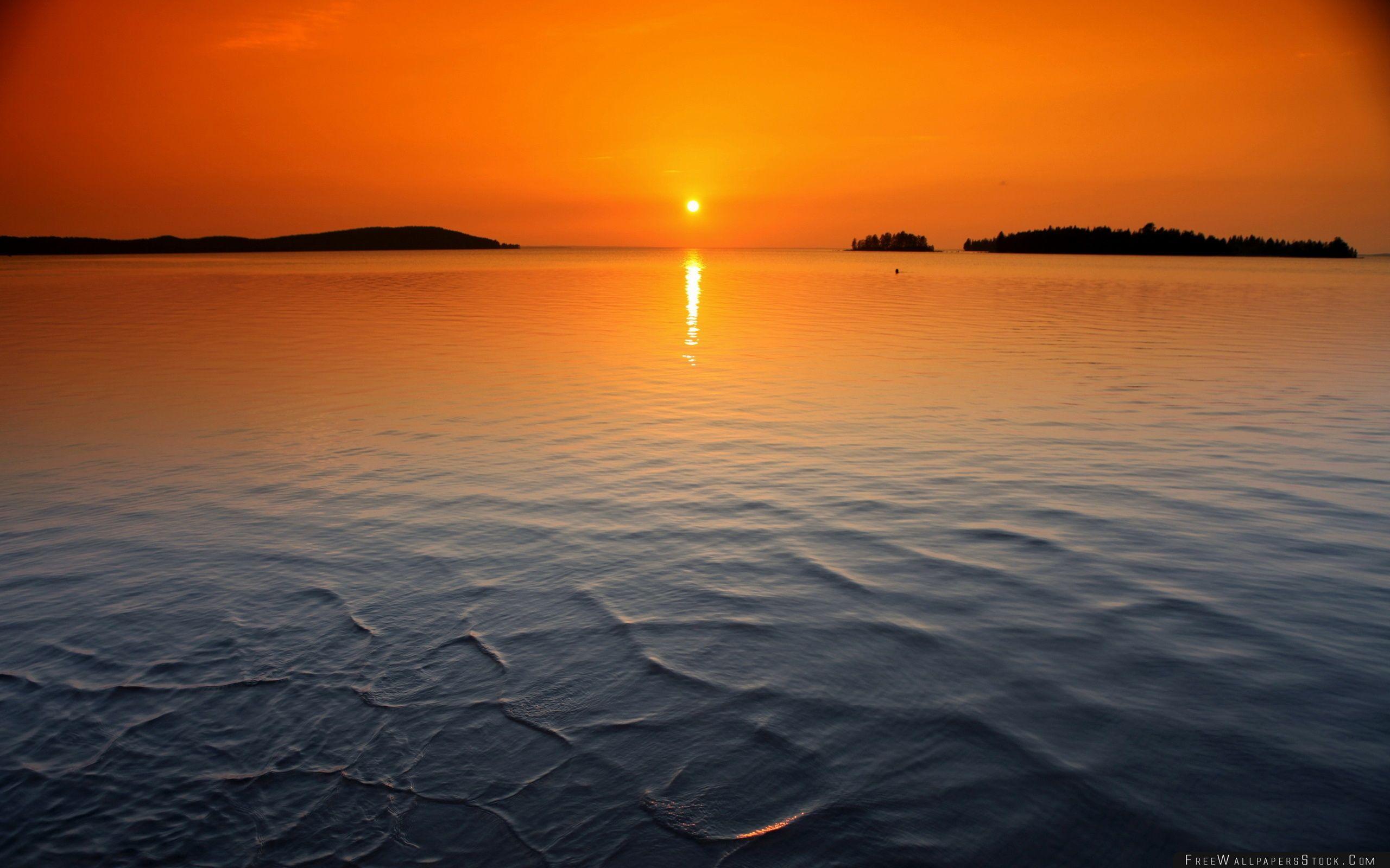 Download Free Wallpaper Orange Horizon Sunset