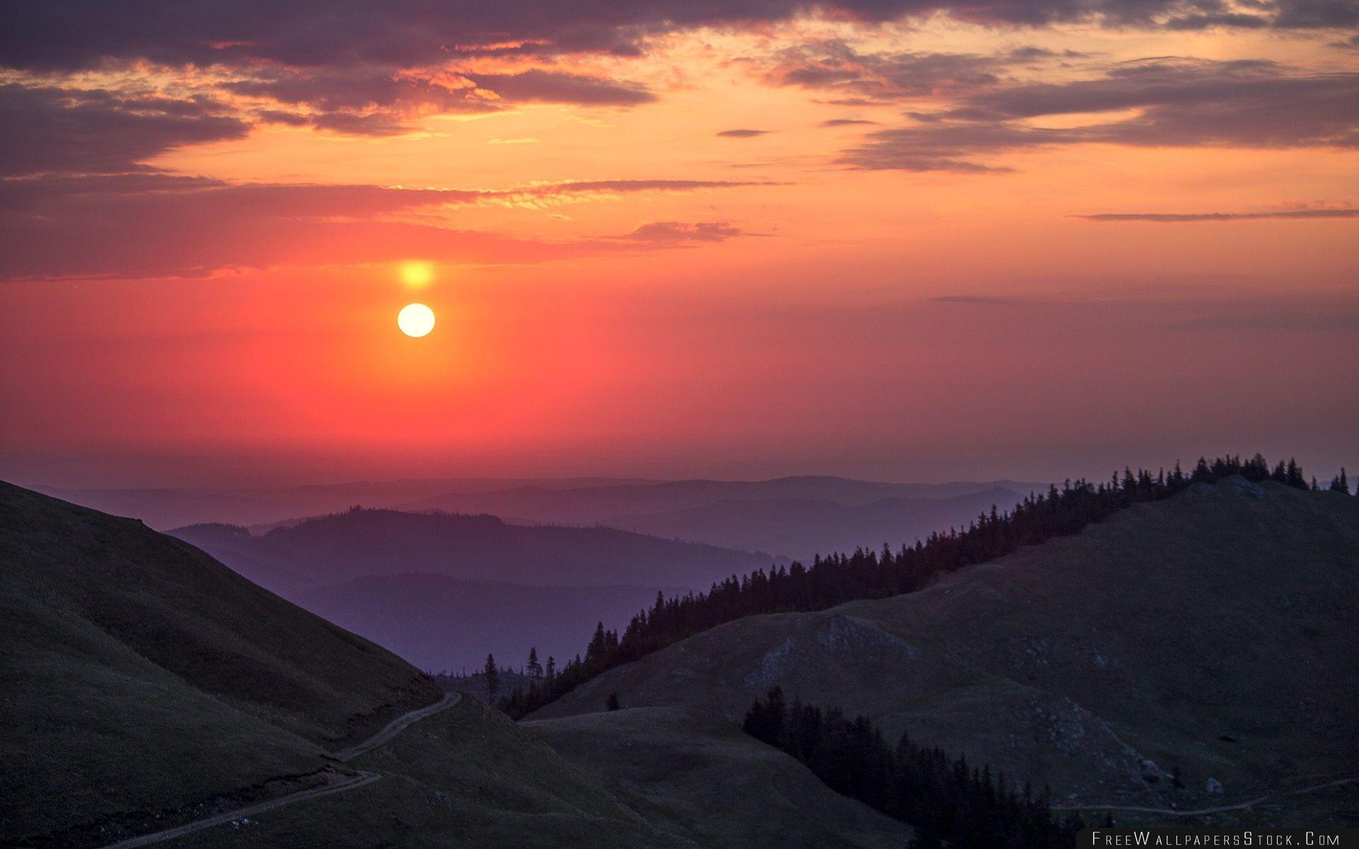 Download Free Wallpaper Rarau Mountains   Sunset Romania