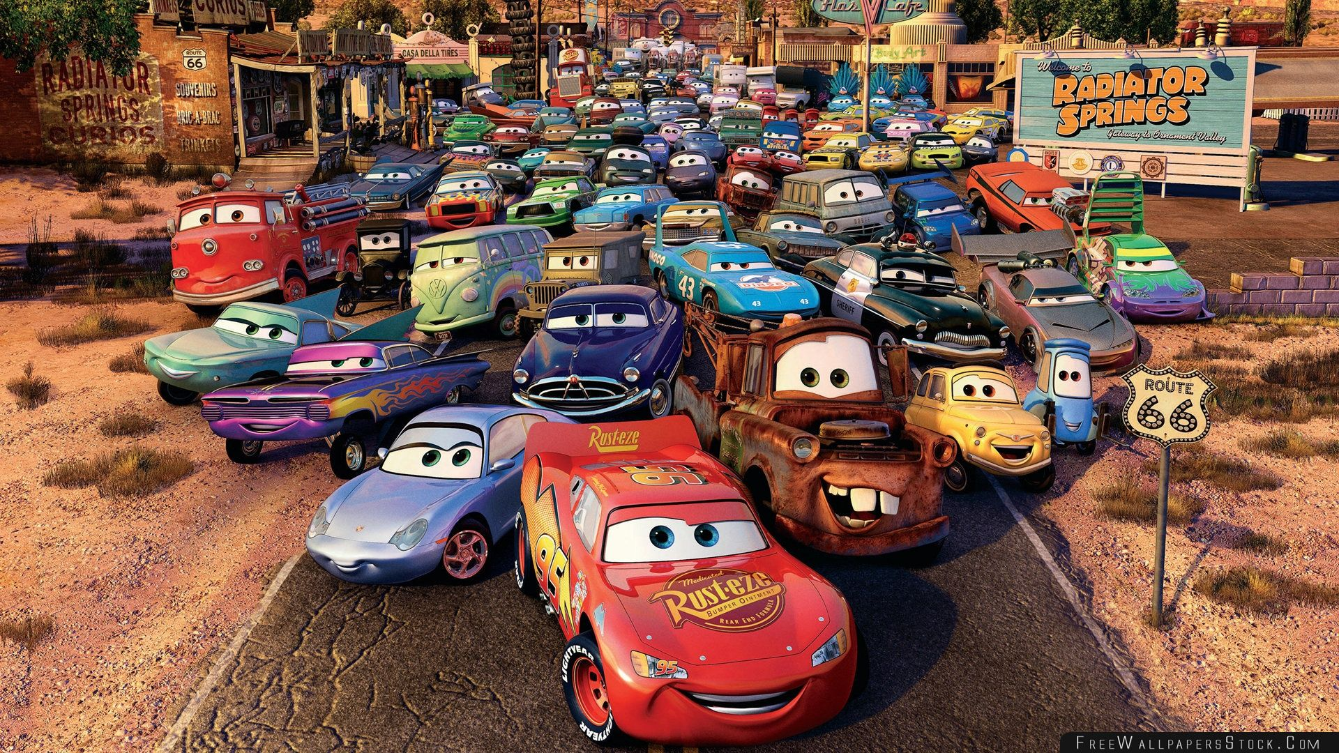 Download Free Wallpaper Route Cars Movie