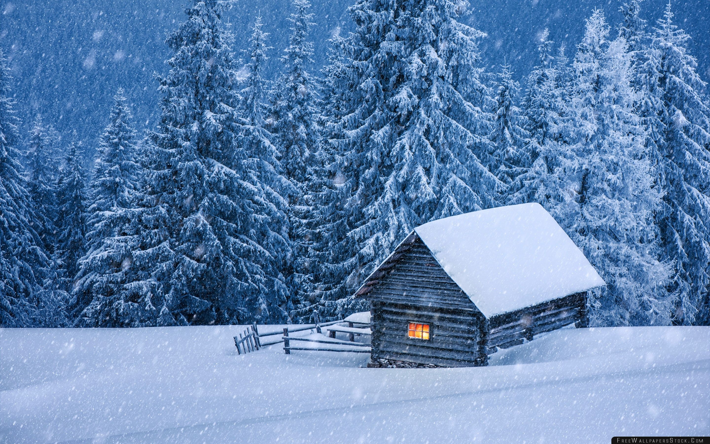 Download Free Wallpaper Snowy Forest Cabin
