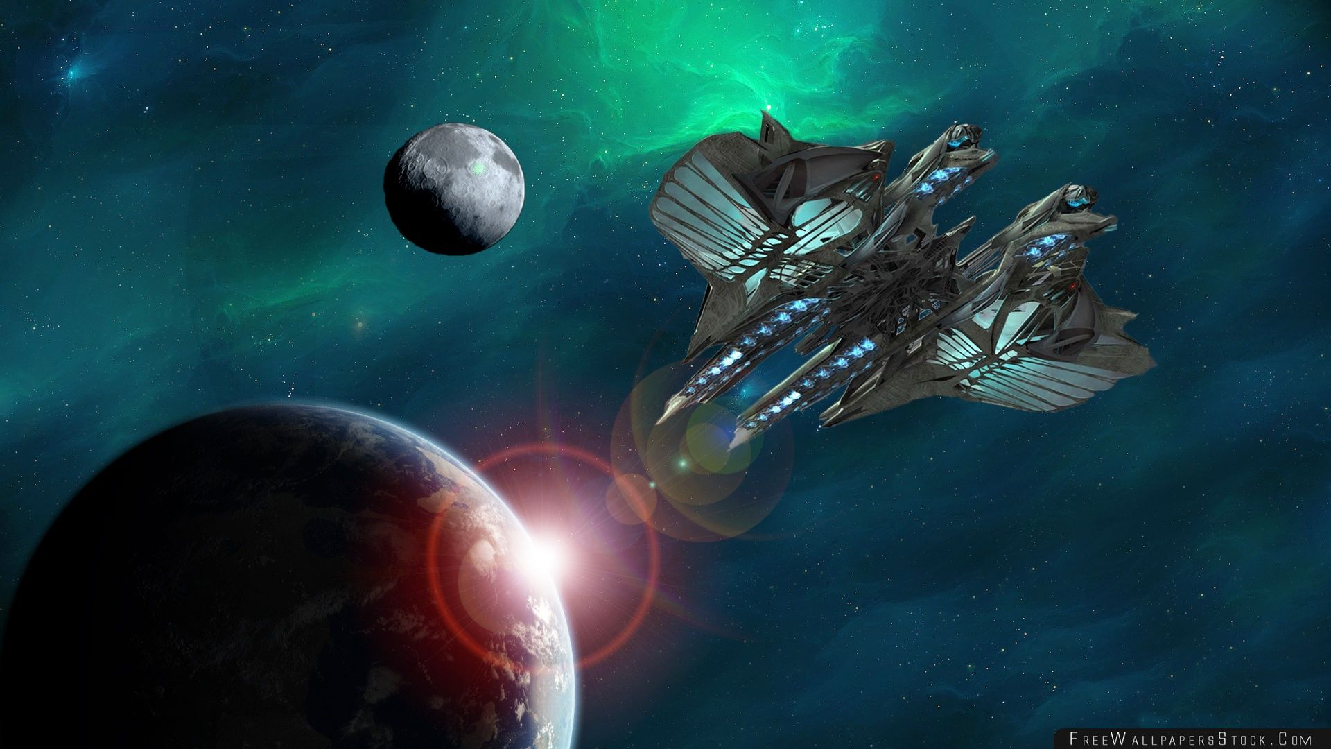 Download Free Wallpaper Space Ship Heading   Earth