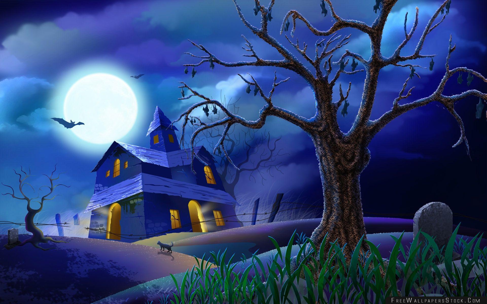 Download Free Wallpaper Spooky House Bats Cat Night Full Moon Hallowmas Halloween