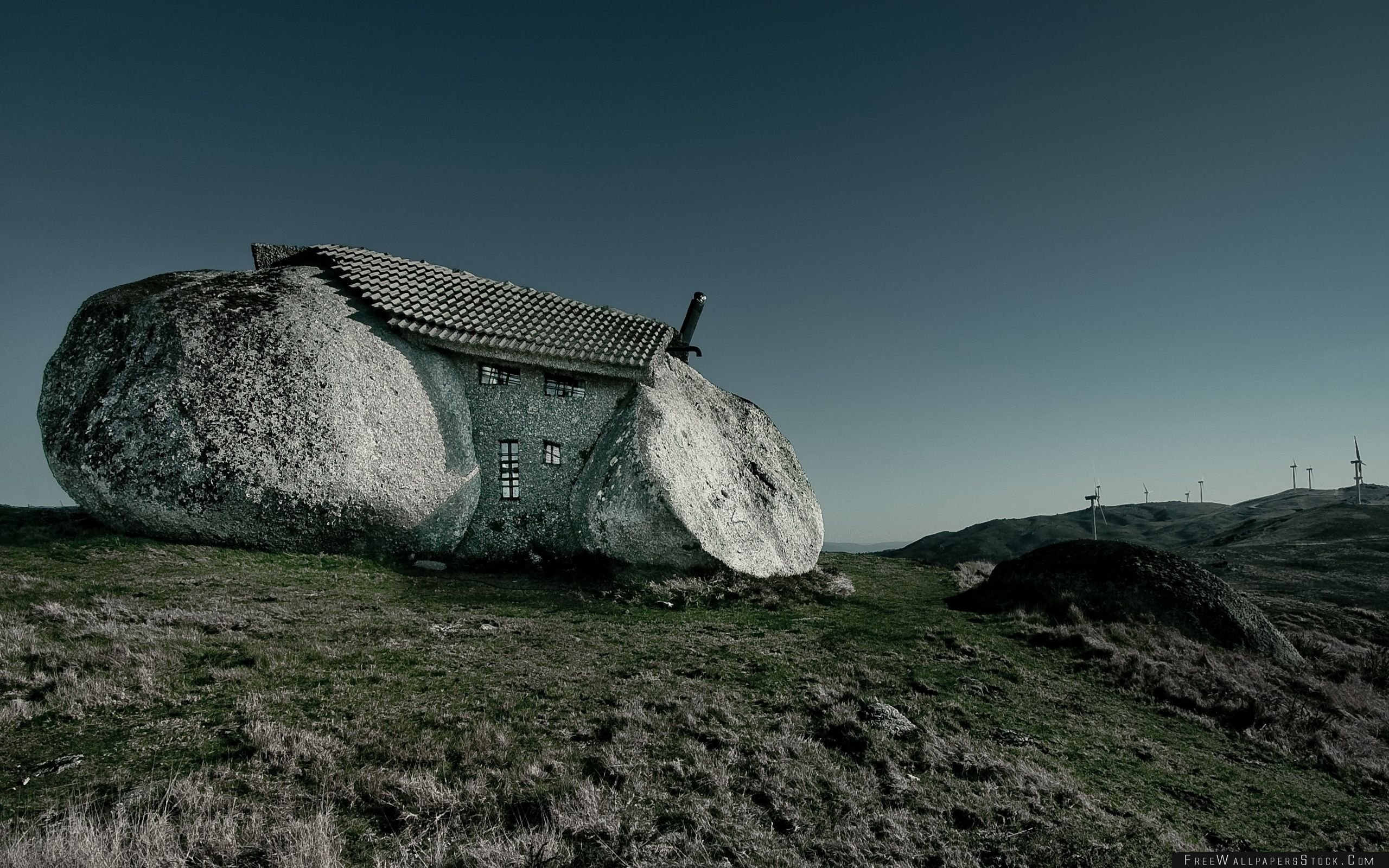 Download Free Wallpaper Stone House Fafe Mountains Portugal