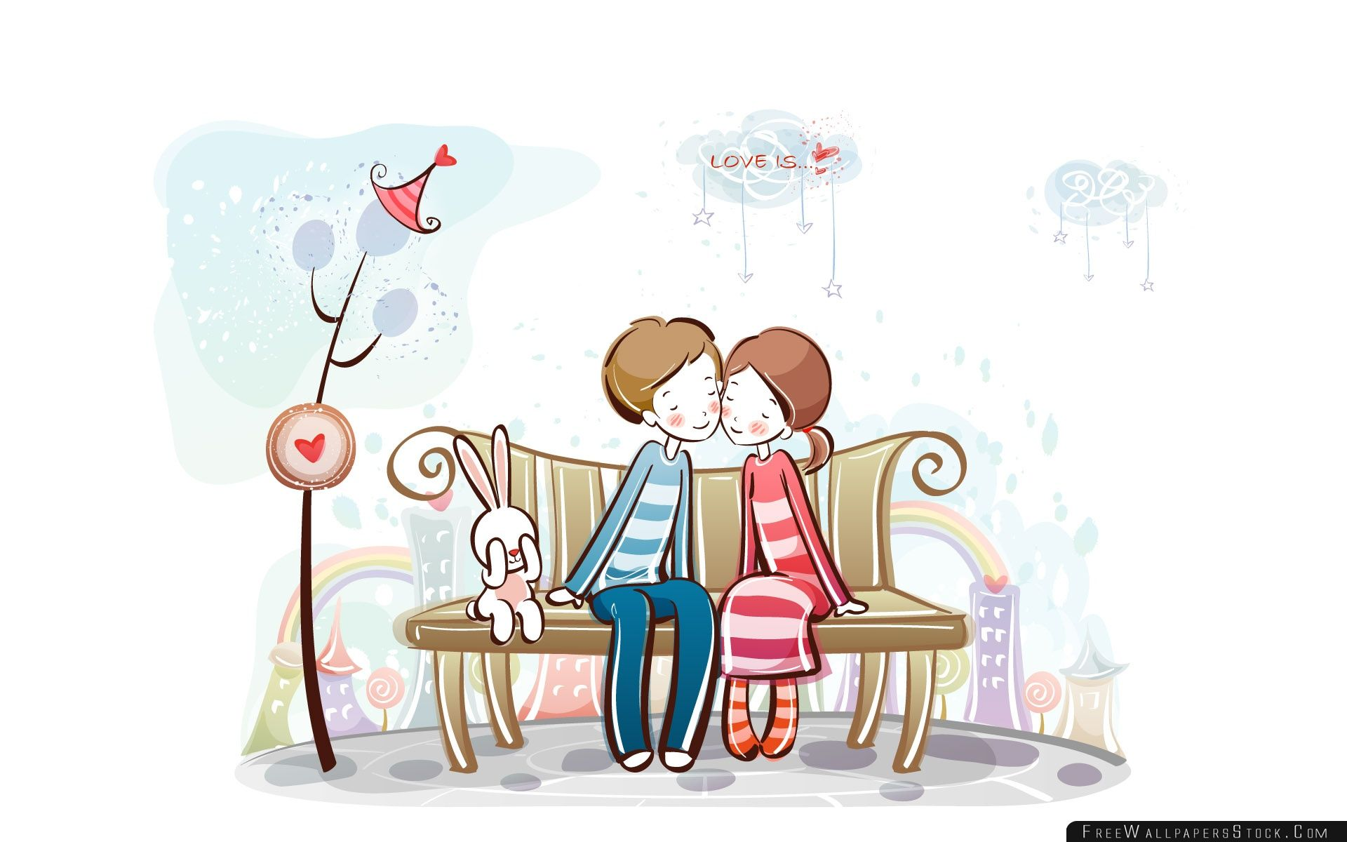 Download Free Wallpaper Sweet Couple   Bench