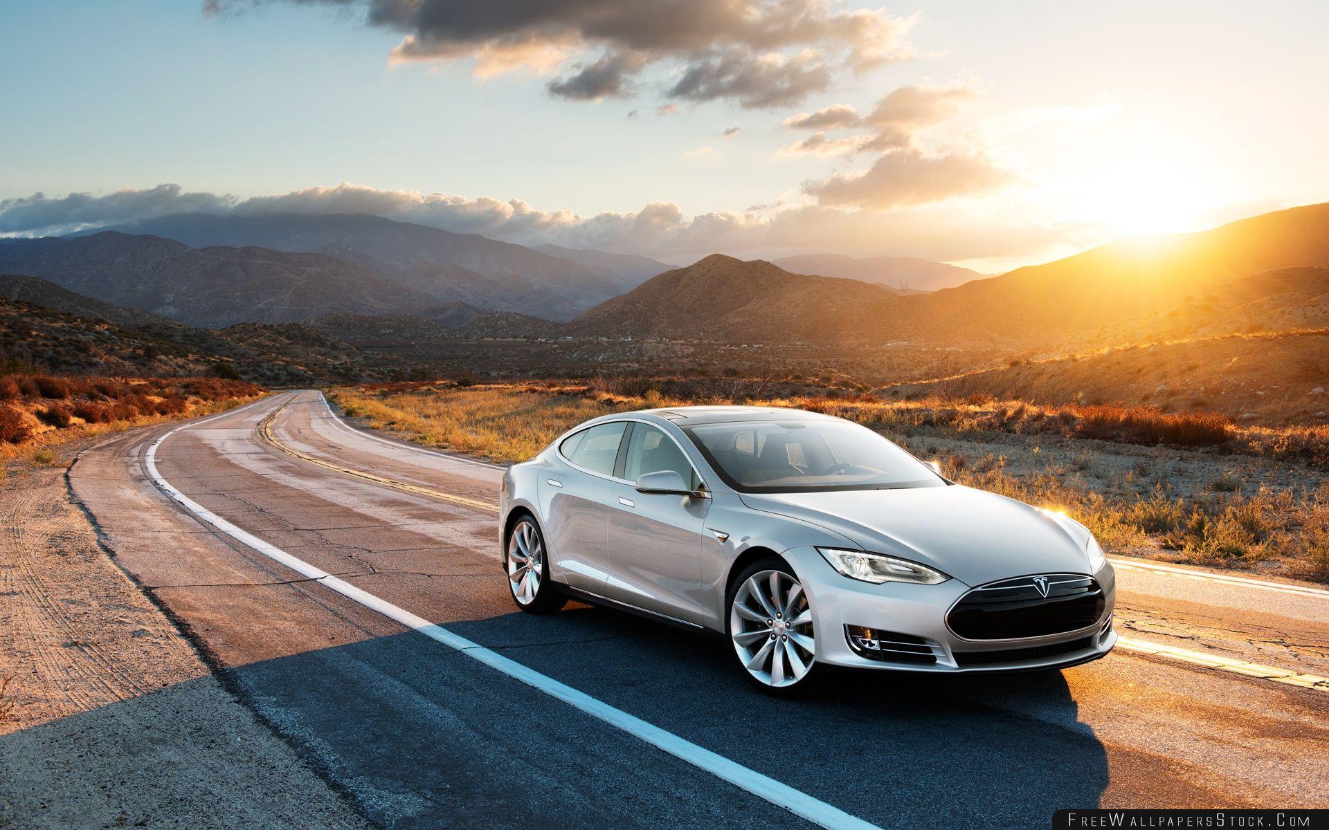 Download Free Wallpaper Tesla Model   Silver Desert Road