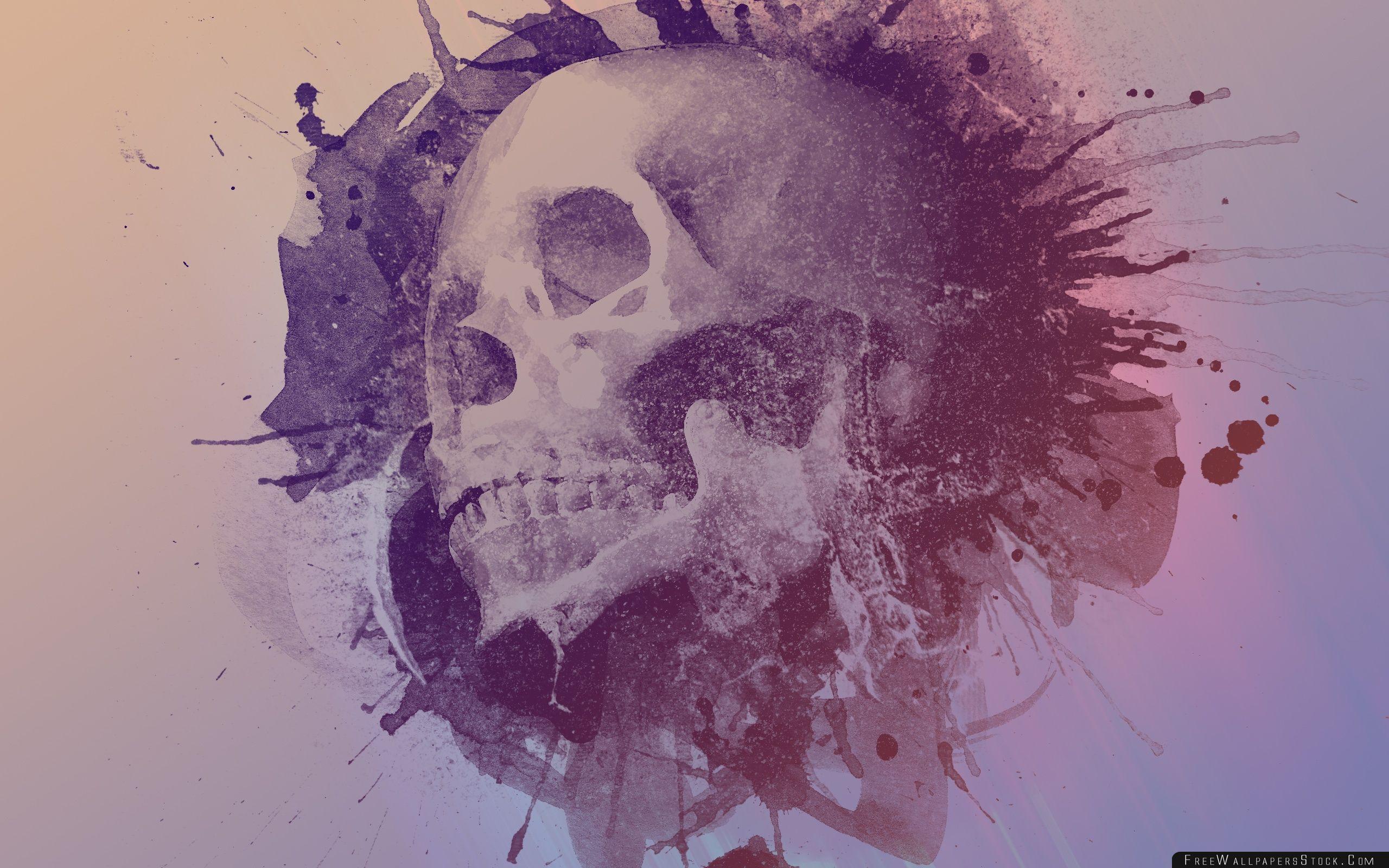 Download Free Wallpaper Watercolour Skull Design