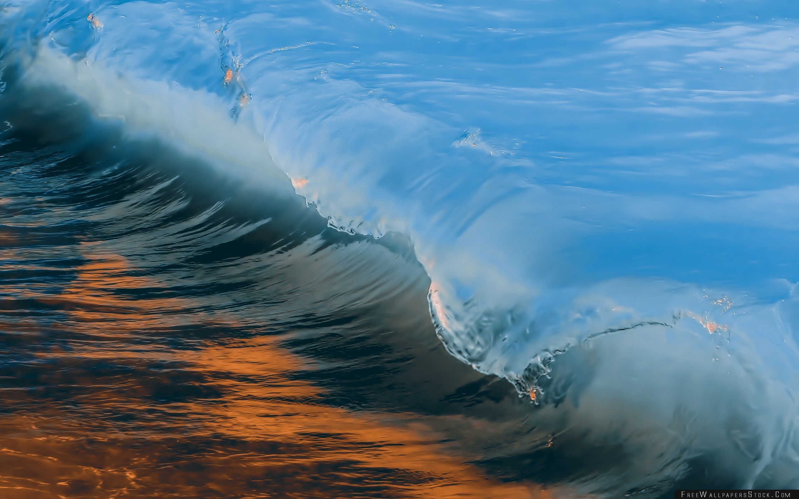 Download Free Wallpaper Wave Blue And Golden