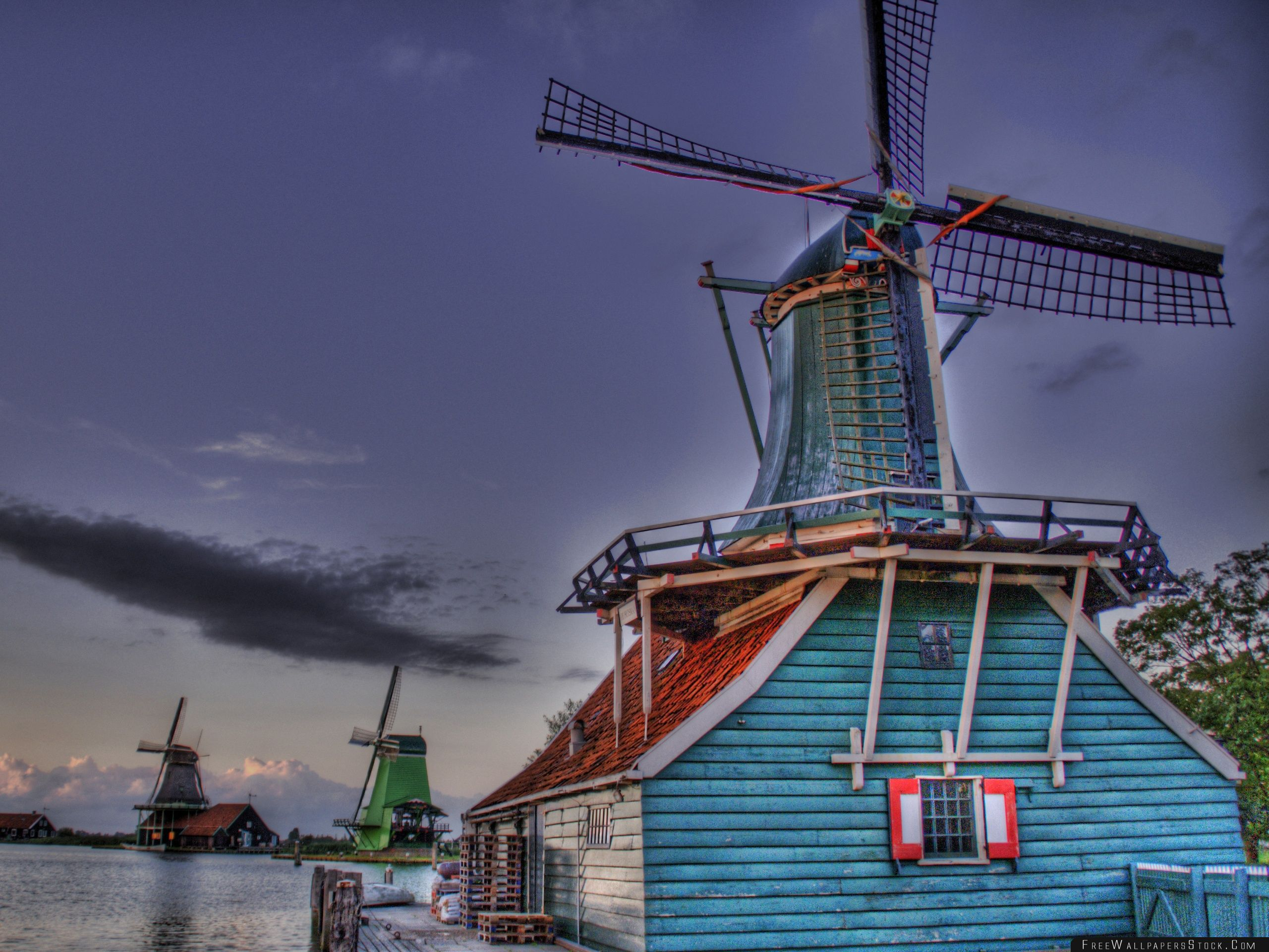 Download Free Wallpaper Windmills Hdr
