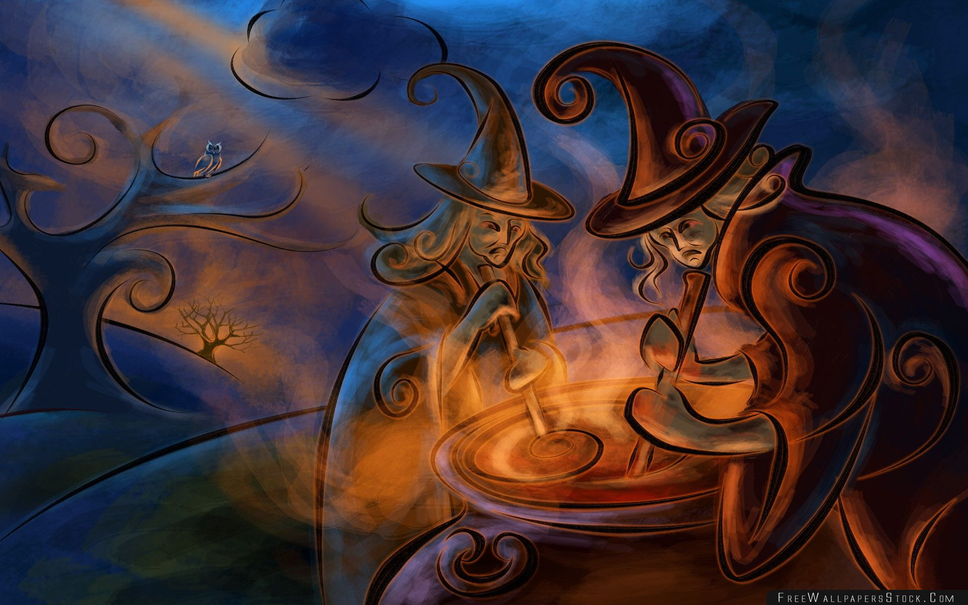 Download Free Wallpaper Witches Night