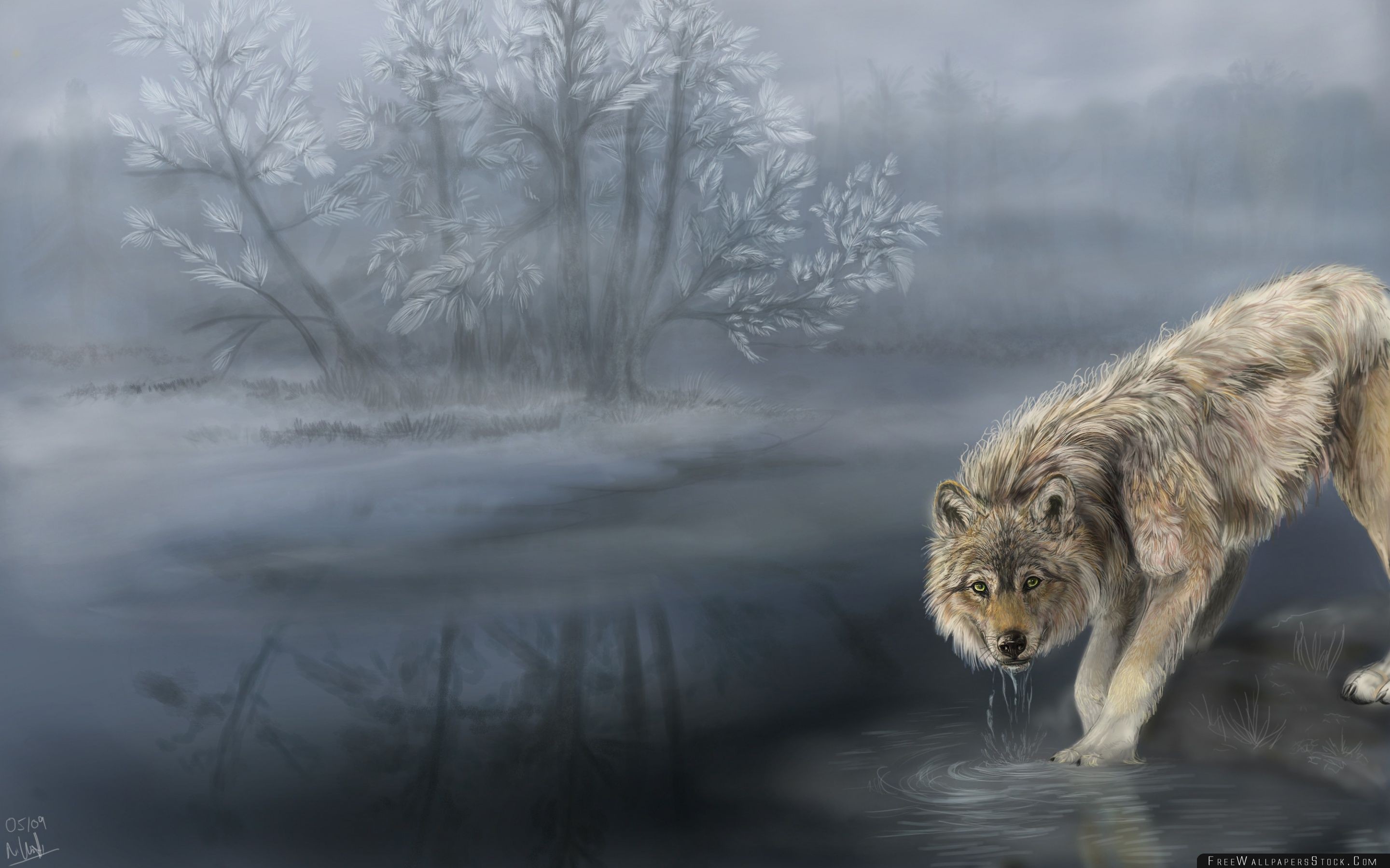 Download Free Wallpaper Wolf Drinking Water Painting