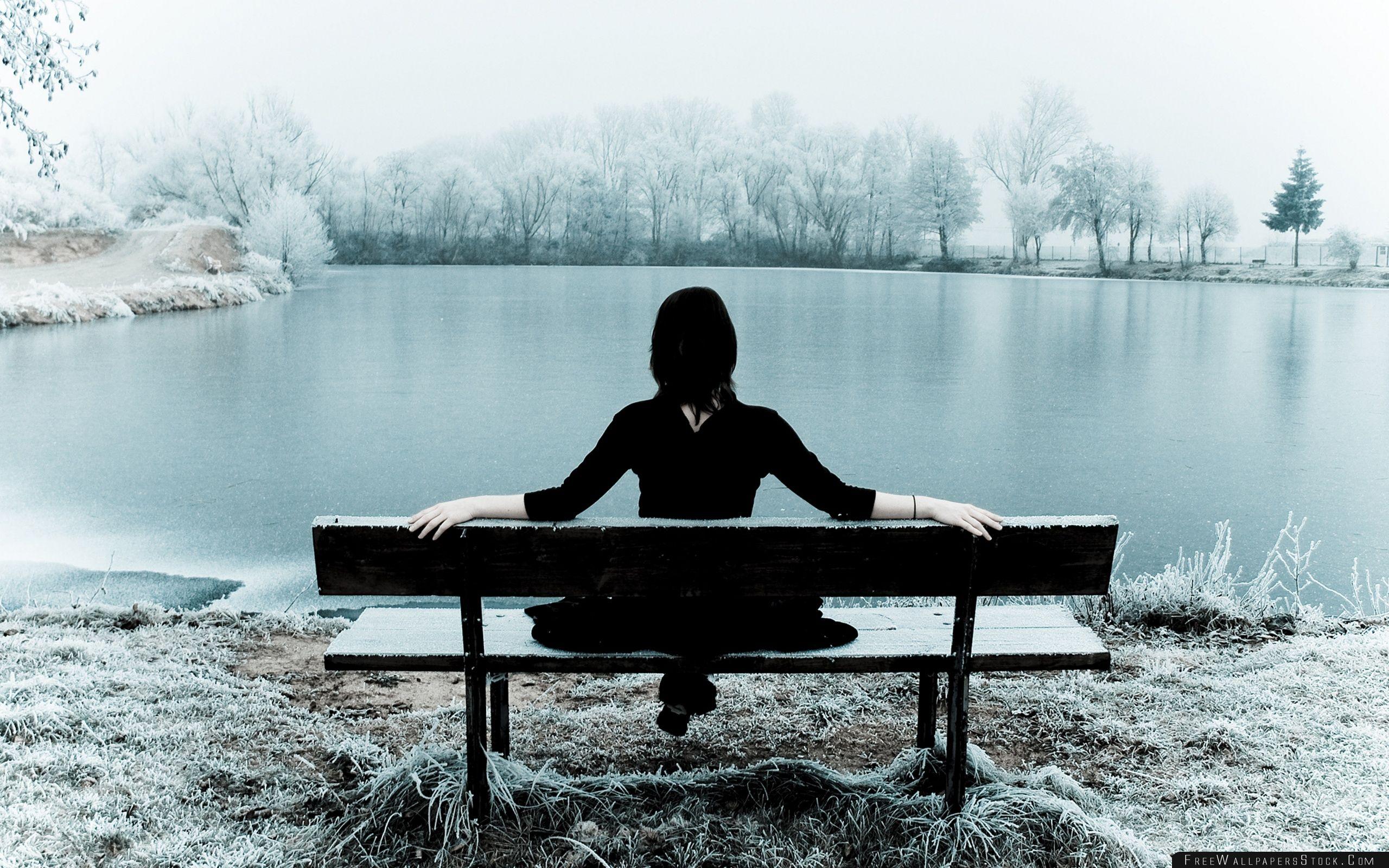 Download Free Wallpaper Woman Sitting Alone   Bench