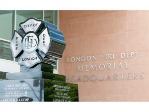 A monument to recognize 21 London firefighters who have died in the line of duty sits outside the London Fire Department Memorial Headquarters on Horton Street on Sunday September 11th, 2011. Family and friends of the fallen firefighters gathered to celebrate their memory as well as to remember those who lost their lives in the World Trade Centre collapse in New York City in 2001. CRAIG GLOVER The London Free Press / QMI AGENCY