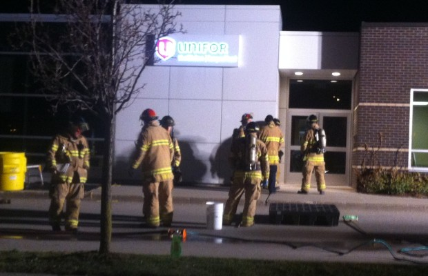 Fire fighters attend the Unifor office at Pine Valley Blvd. in London in response to a suspicious package, April 16, 2014.  (Photo by Scott Kitching)