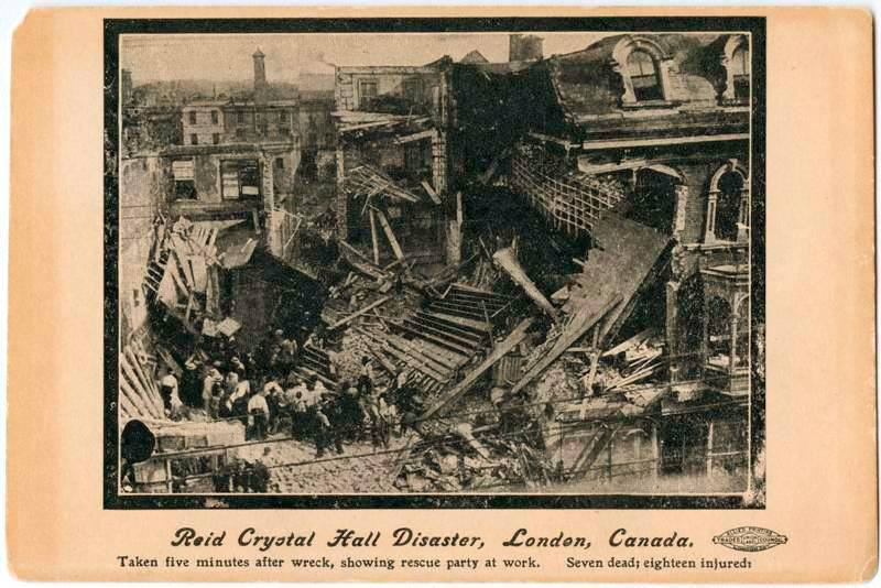 Reid's Crystal Hall disaster July 16, 1907 Dundas St, south side, west of Clarence St