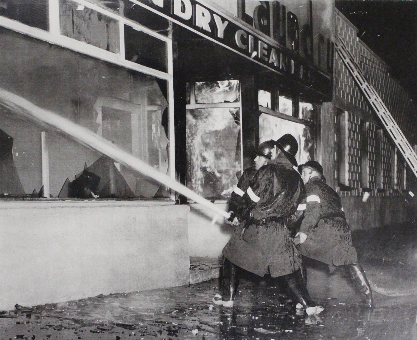 Fire at the Dutch Laundry Dry Cleaners.