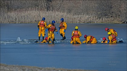 London Fire Fighters doing ice rescue training