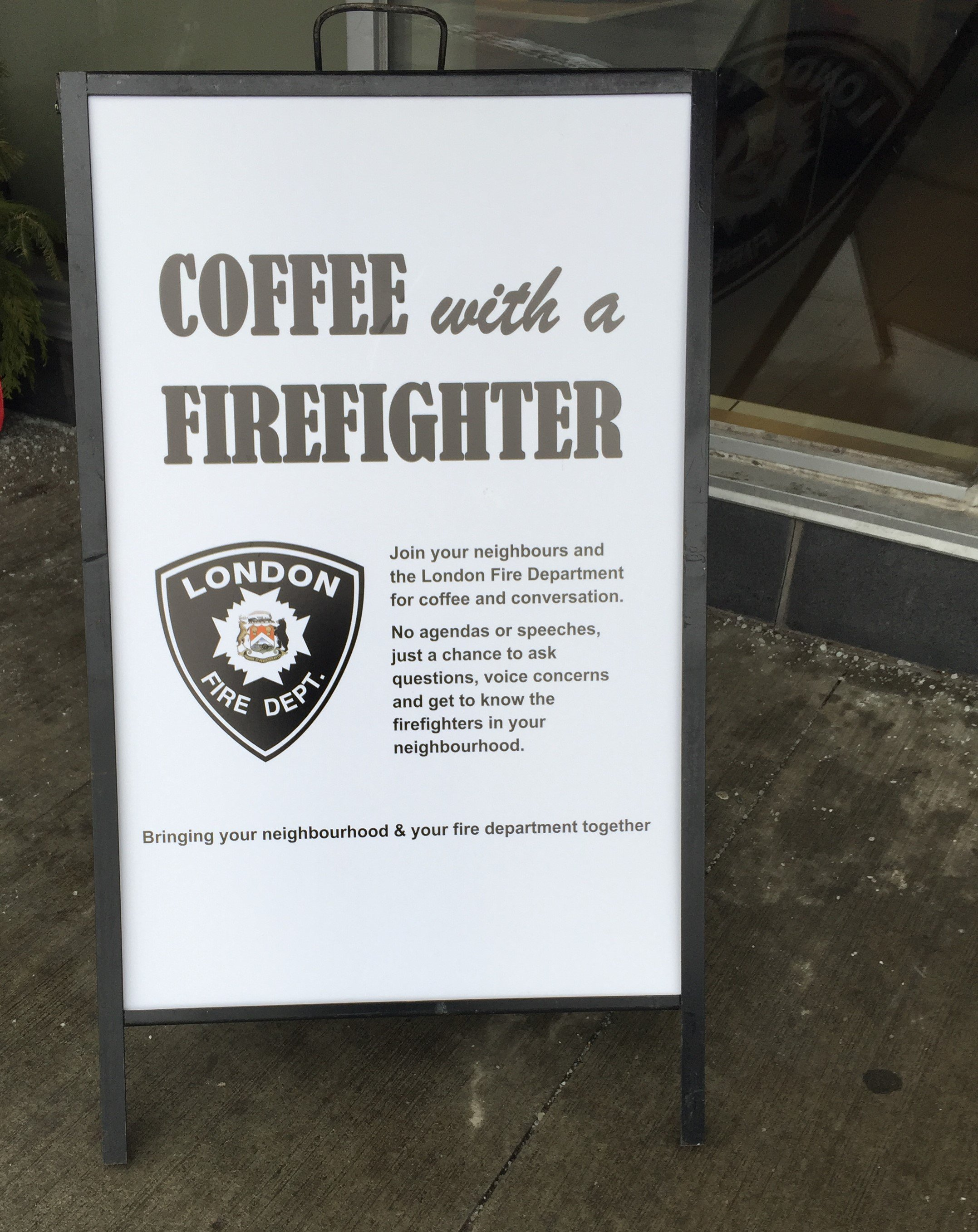 Coffee with a Firefighter sign