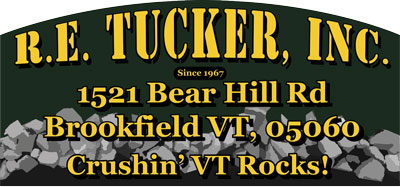 R.E. Tucker, Inc. sand and stone products for construction and landscaping in Central Vermont Logo