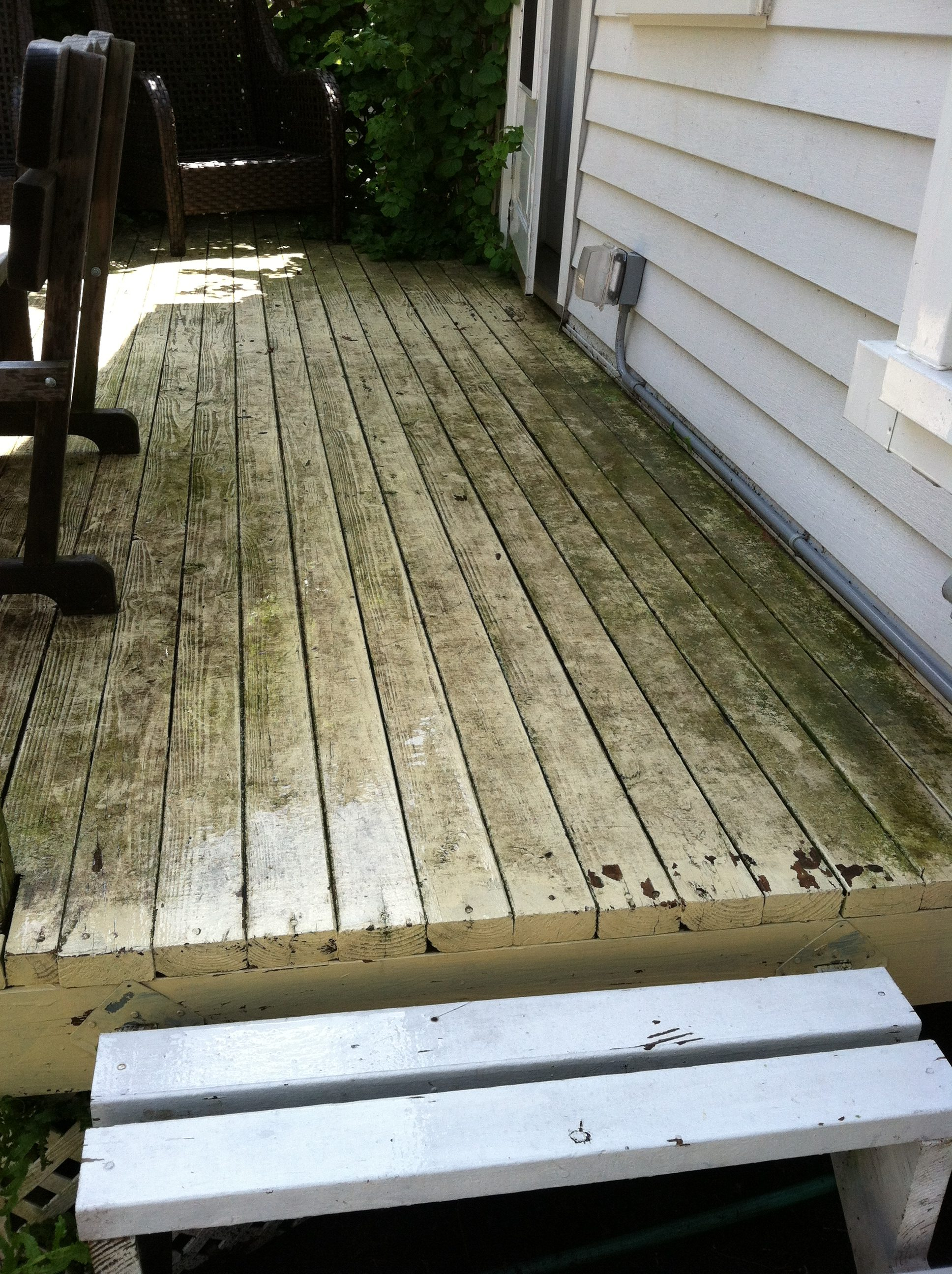 Before: Bay Village Wooden Deck - Pressure Washing & Painting