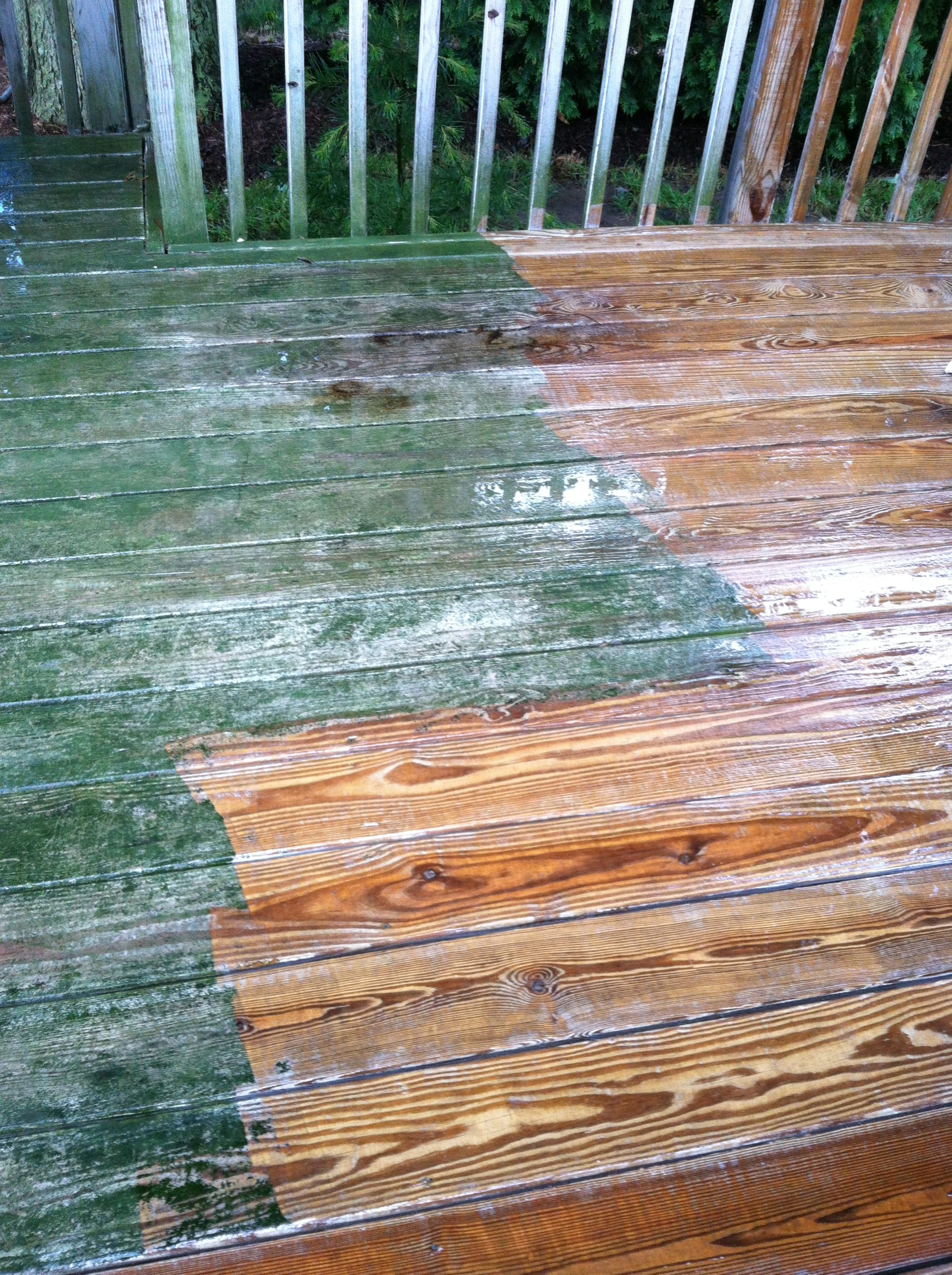 During: Bay Village Wooden Deck - Pressure Washing & Painting