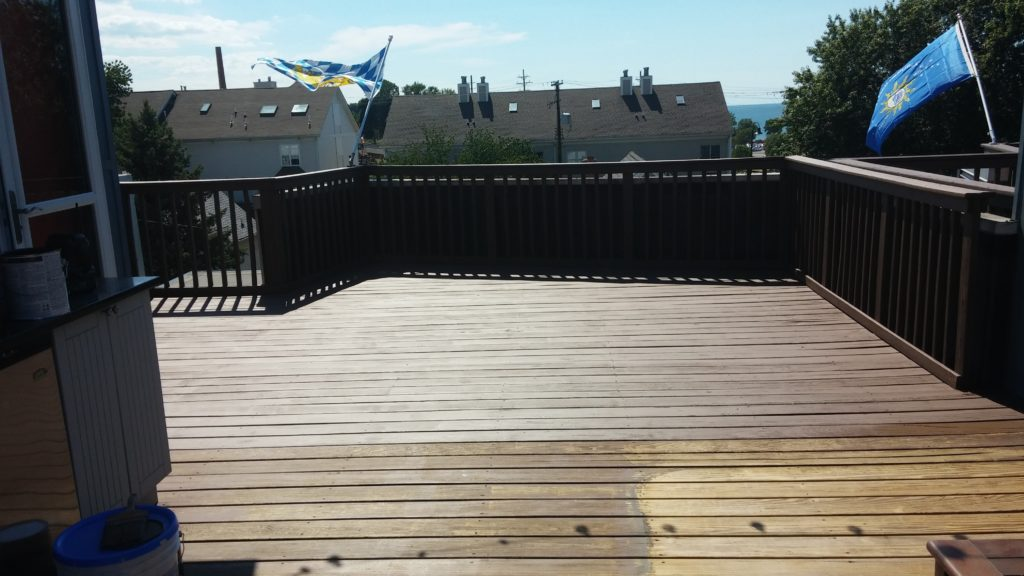 During - Comparison of the Deck Before and the Area Pressure Washed