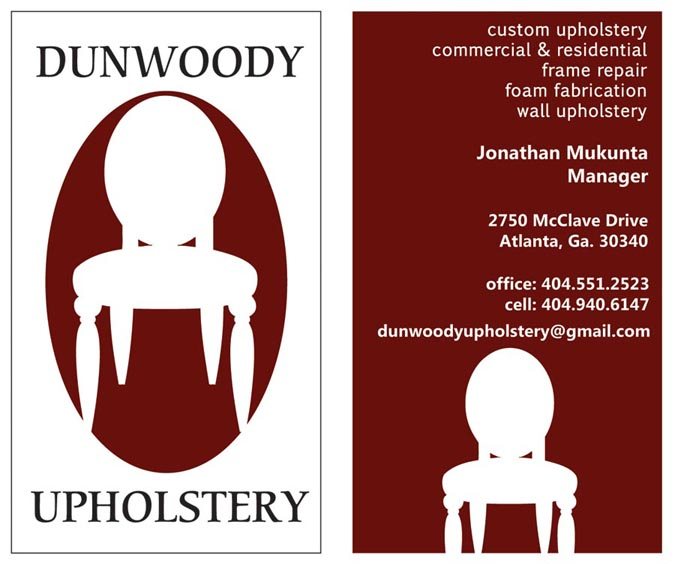 Dunwoody Upholstery business card