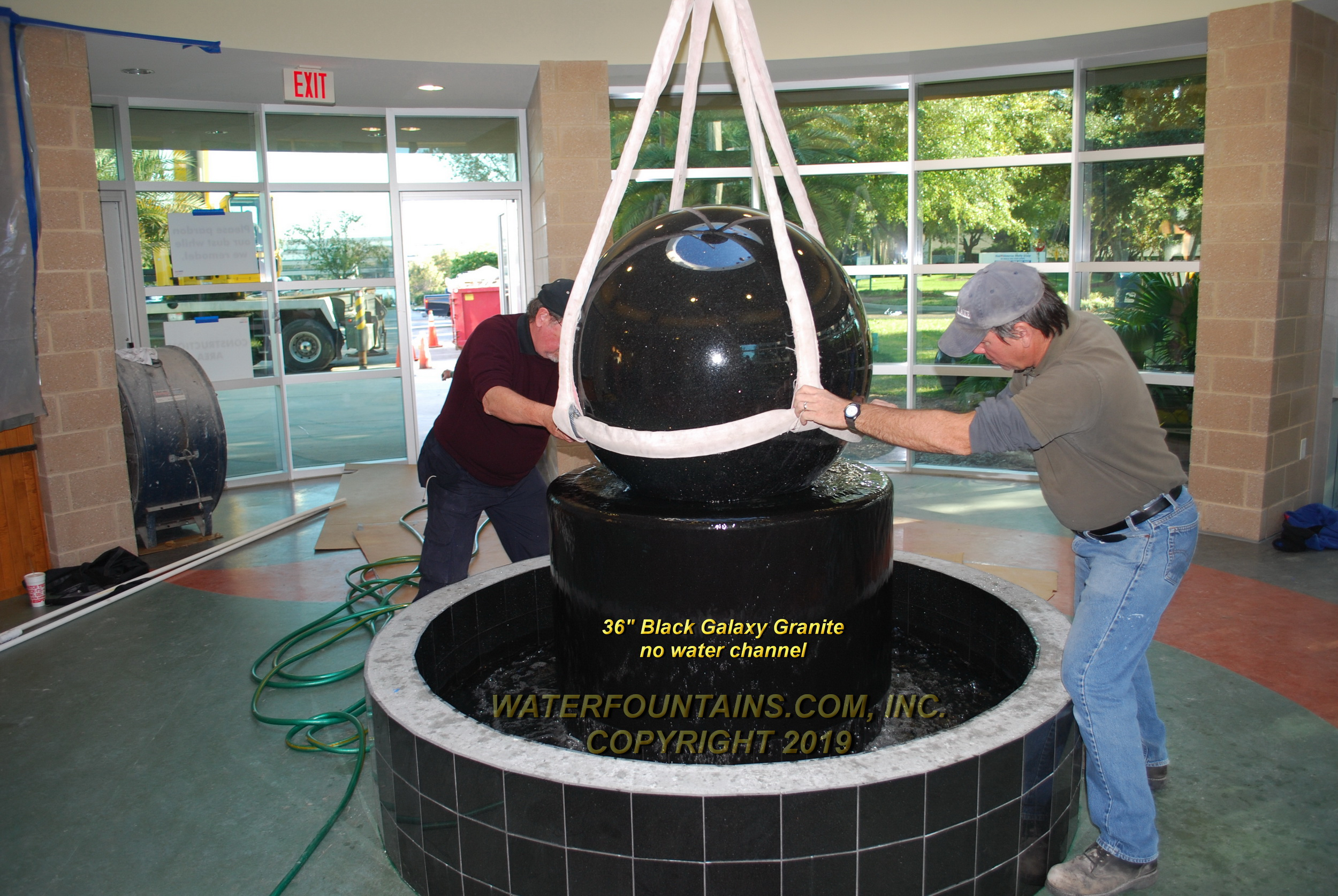 GRANITE SPHERE BALL WATER FOUNTAIN - 005