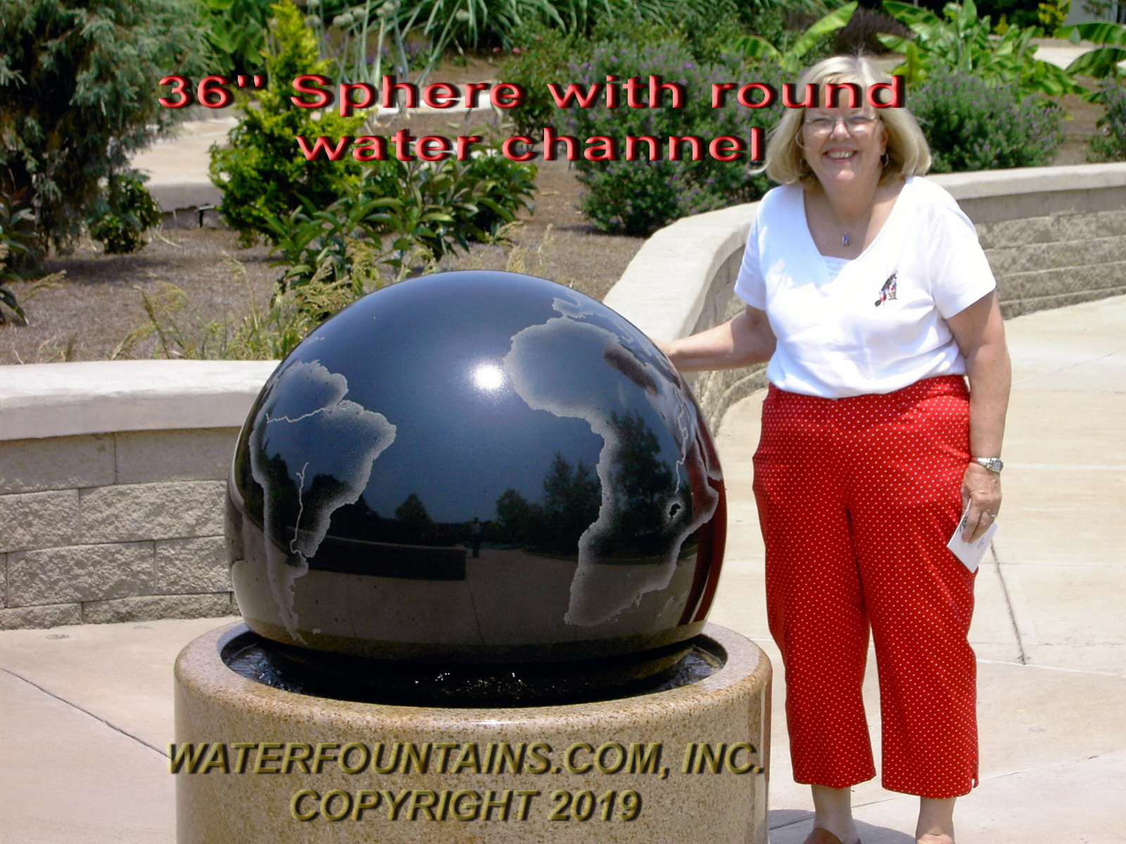 GRANITE SPHERE BALL WATER FOUNTAIN - 007