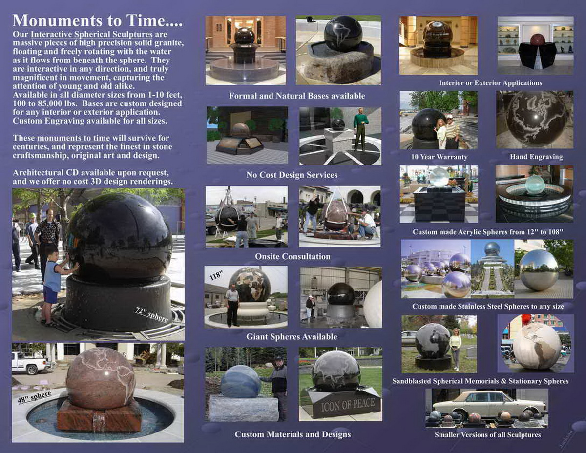 GRANITE SPHERE BALL WATER FOUNTAIN - 033