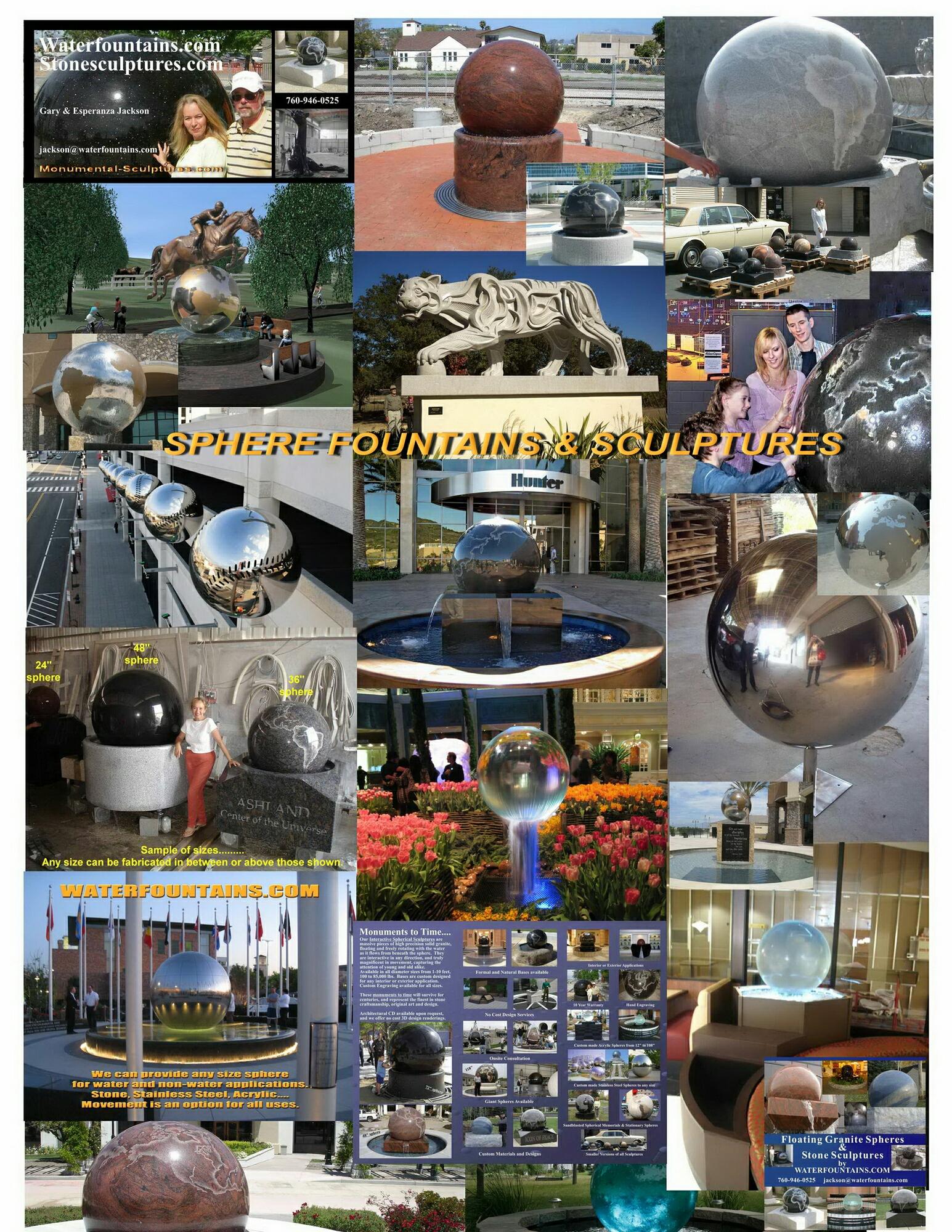GRANITE SPHERE BALL WATER FOUNTAIN - 053